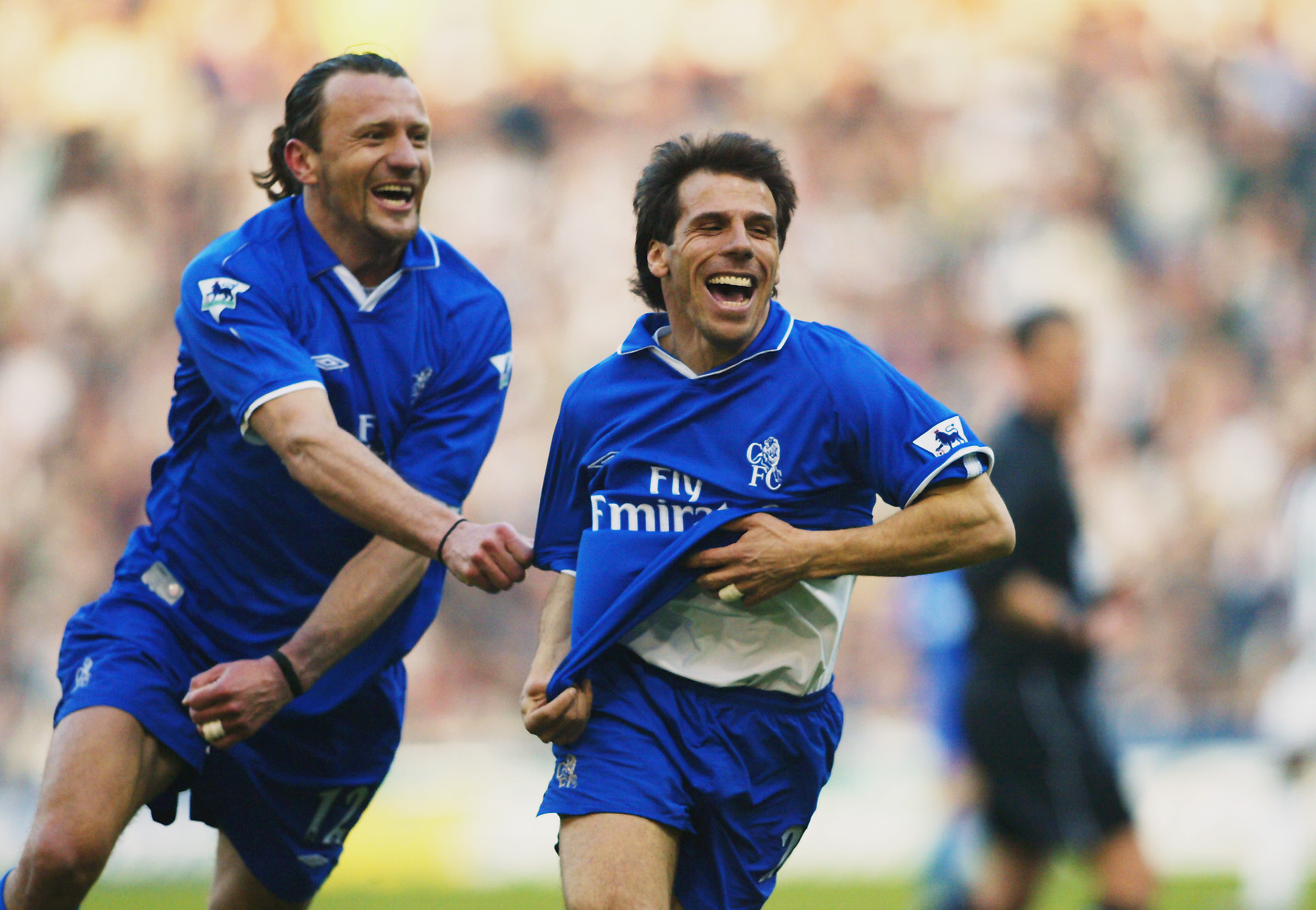 WEST BROMWICH - MARCH 16:  Gianfranco Zola of Chelsea celebrates scoring the second goal with team-mate Mario Stanic during the FA Barclaycard Premiership match between West Bromwich Albion and Chelsea held on March 16, 2003 at The Hawthorns, in West Brom