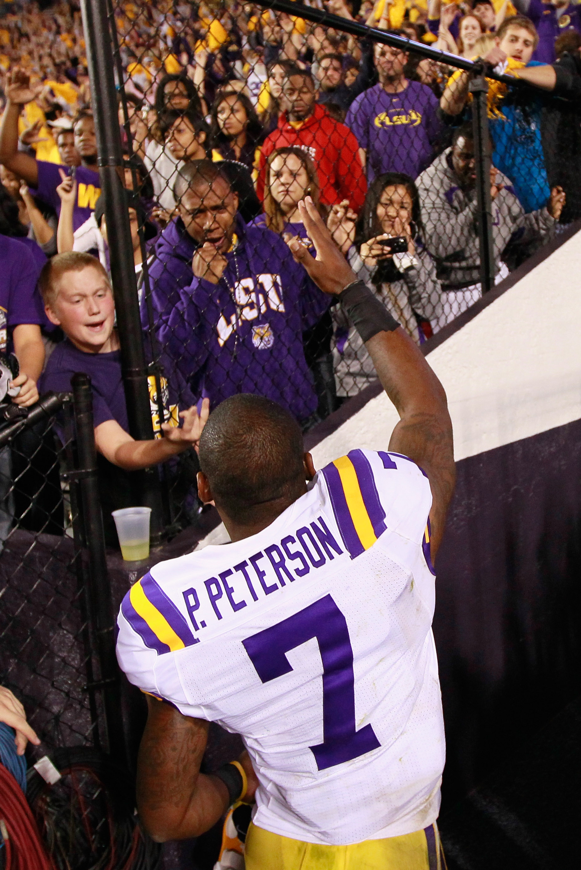 BATON ROUGE, LA - NOVEMBER 20:  Patrick Peterson #7 of the Louisiana State University Tigers reacts after their 43-36 win over the Ole Miss Rebels at Tiger Stadium on November 20, 2010 in Baton Rouge, Louisiana.  (Photo by Kevin C. Cox/Getty Images)