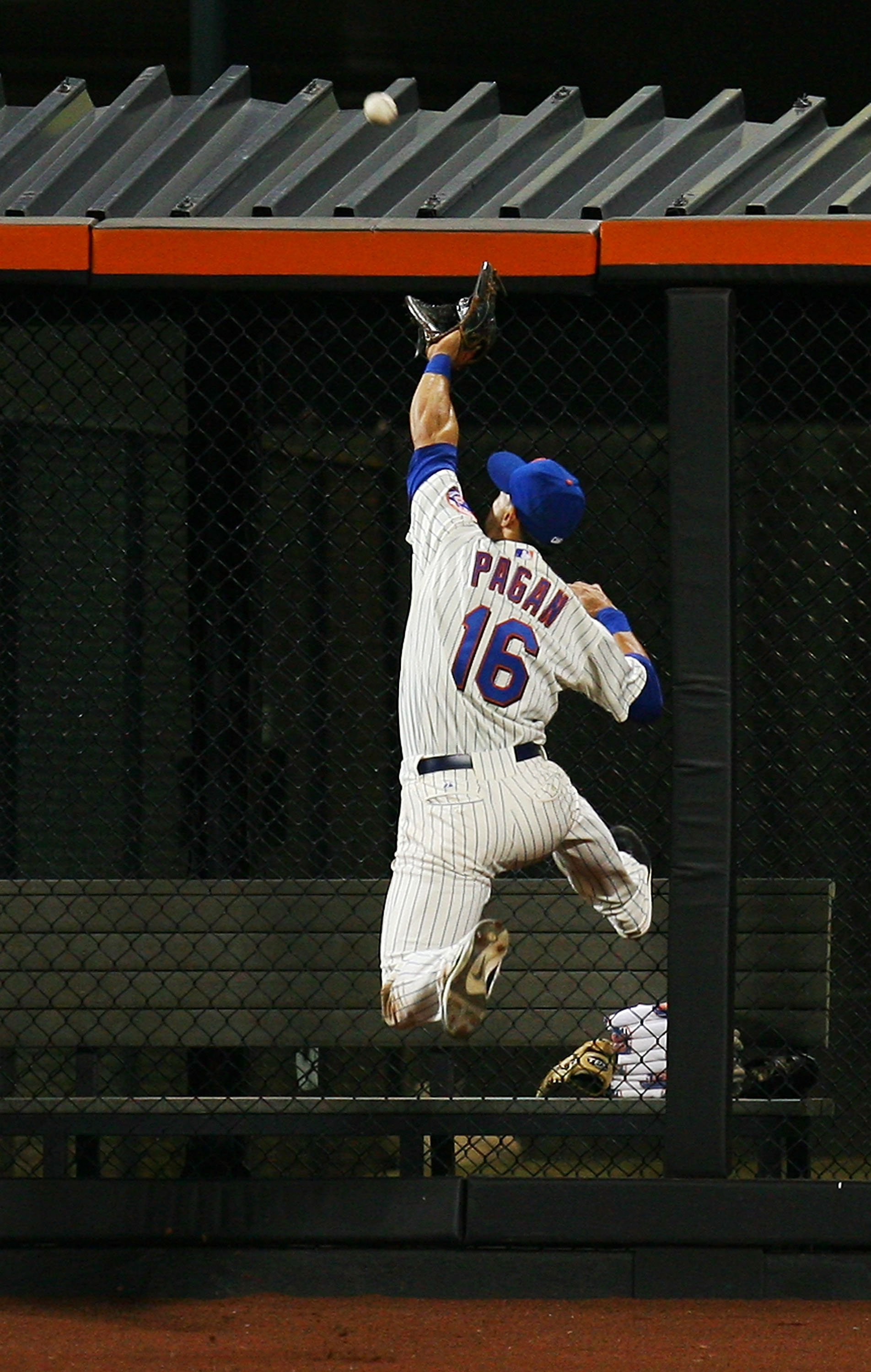 NEW YORK - SEPTEMBER 15:  Angel Pagan #16 of the New York Mets is unable to catch a triple hit by Pedro Alvarez of the Pittsburgh Pirates on September 15, 2010 at Citi Field in the Flushing neighborhood of the Queens borough of New York City.  (Photo by A