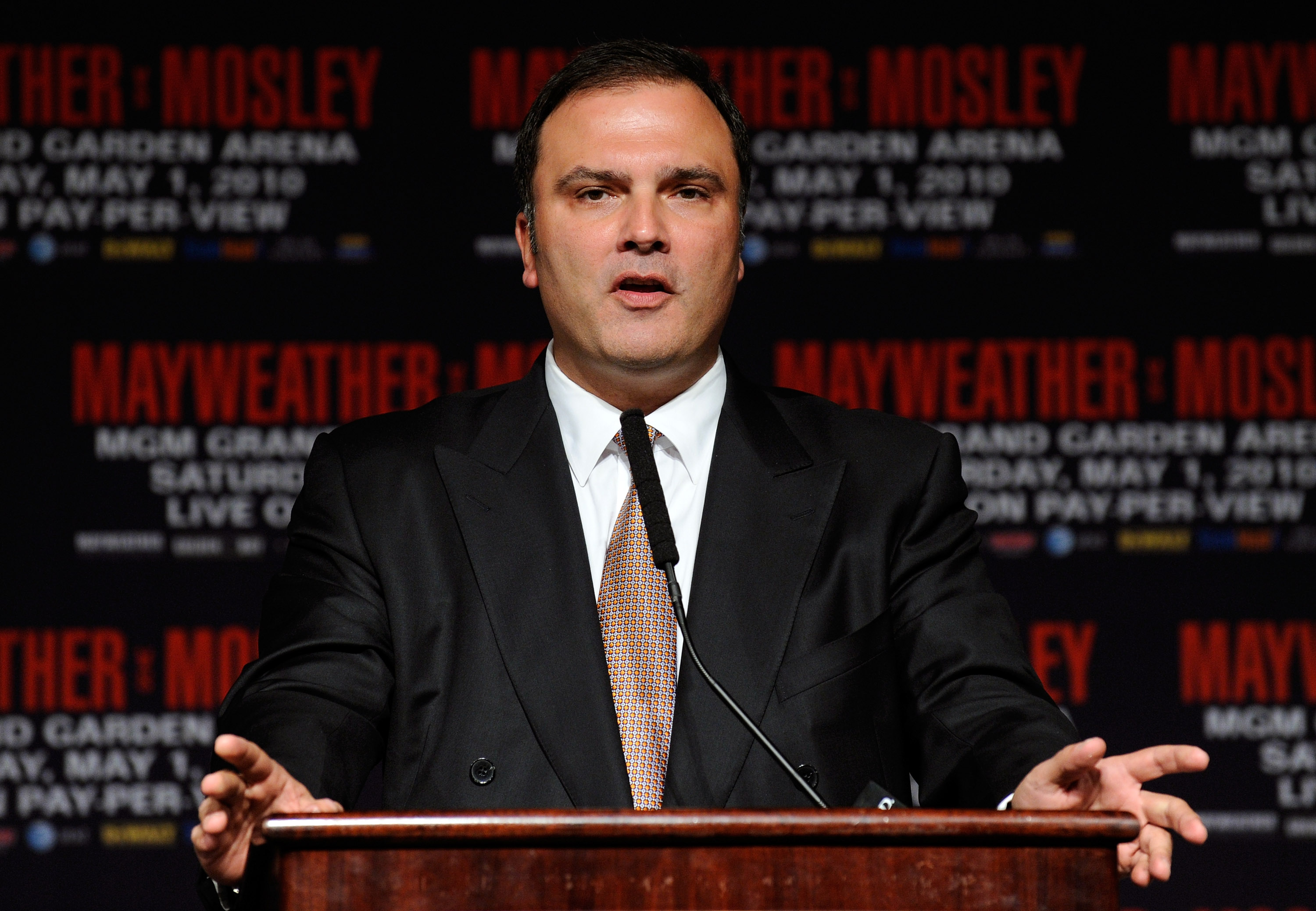 LAS VEGAS - APRIL 28:  CEO of Golden Boy Promotions Richard Schaefer speaks during the final news conference for the bout between Floyd Mayweather Jr. and Shane Mosley at the MGM Grand Hotel/Casino April 28, 2010 in Las Vegas, Nevada. Mayweather and Mosle