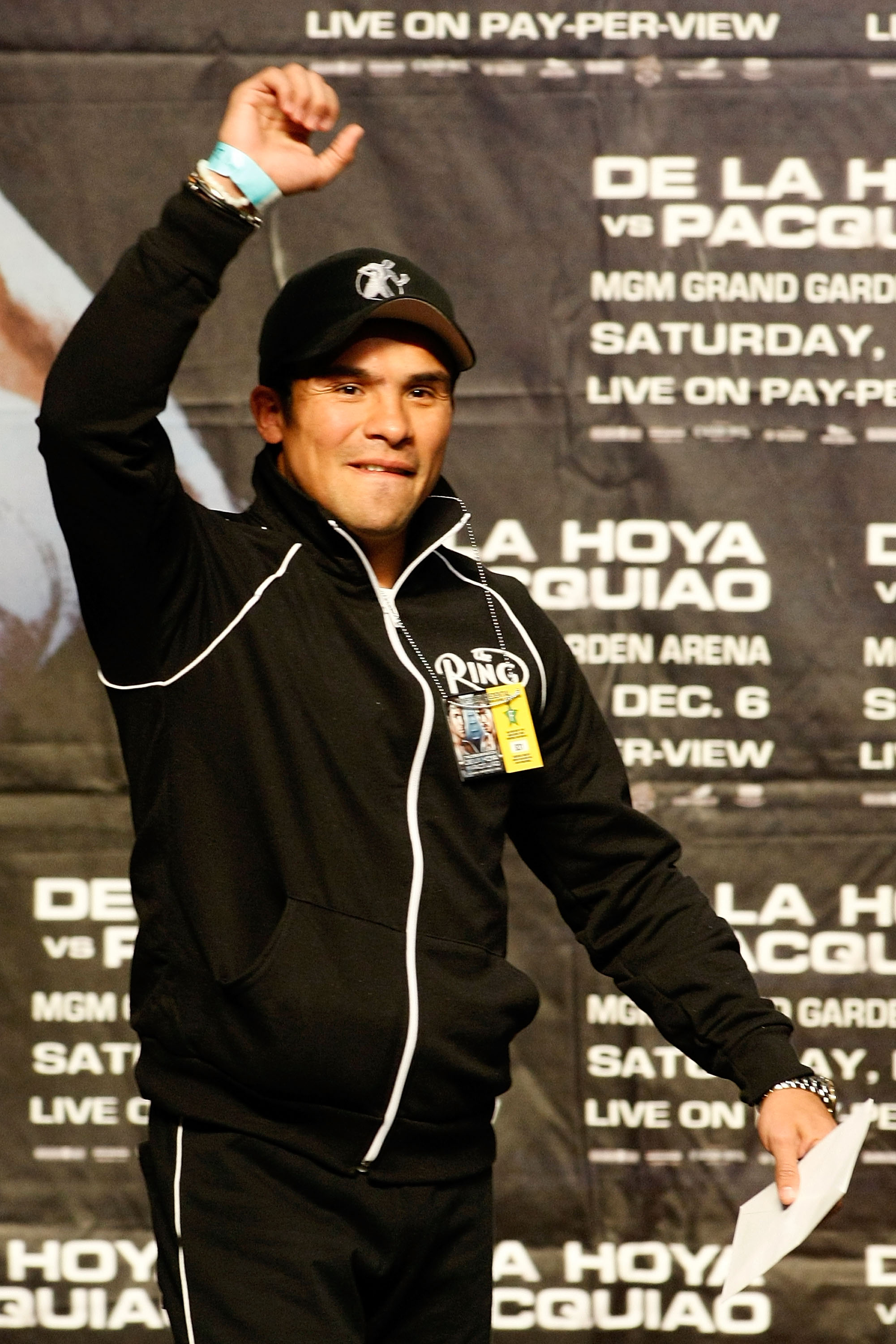 LAS VEGAS - DECEMBER 05:  Boxer Juan Manuel Marquez of Mexico attends the weigh-in for the Oscar De La Hoya and Manny Pacquiao of the Philippines welterweight fight at the MGM Grand Garden Arena December 5, 2008 in Las Vegas, Nevada. De La Hoya fights Pac