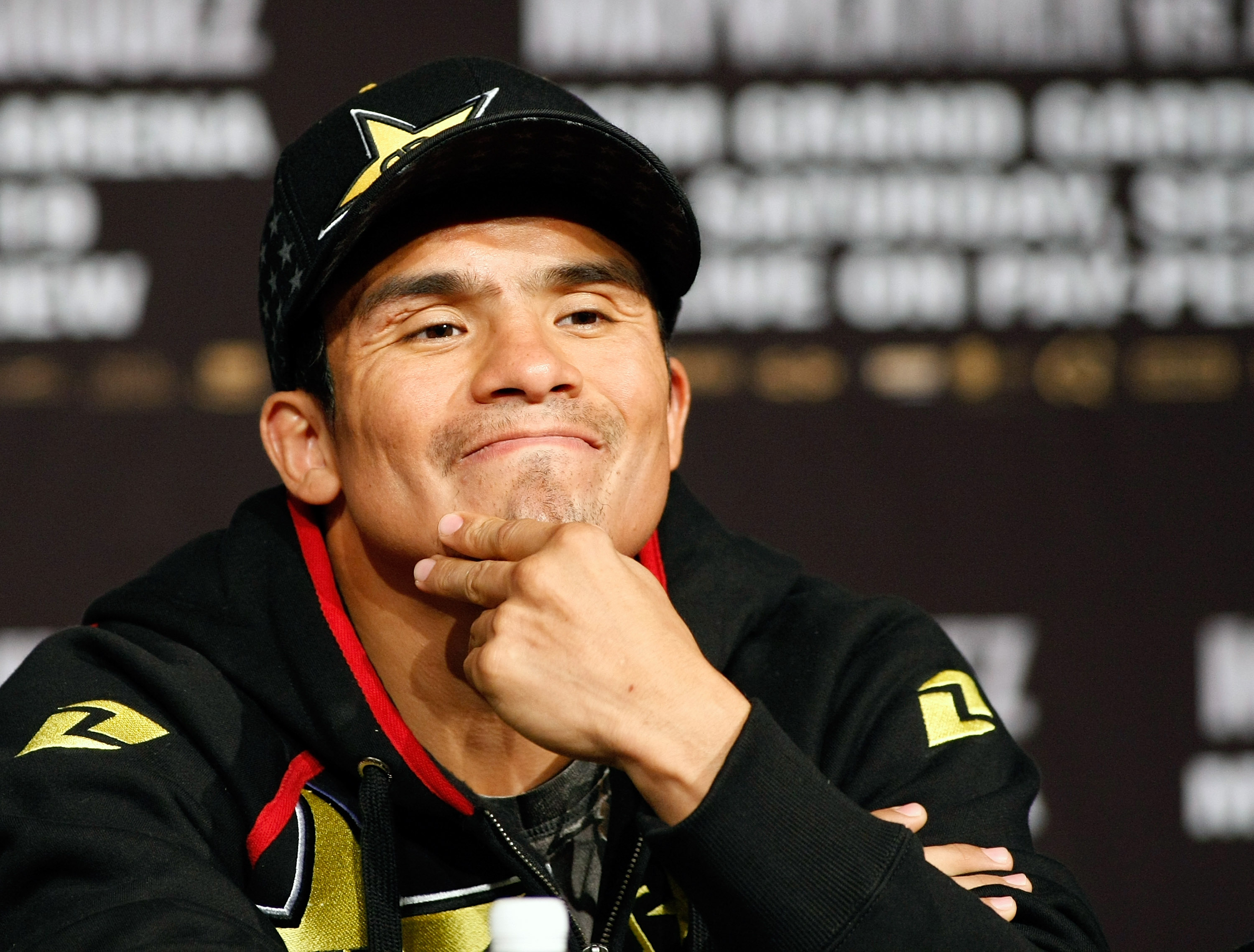 LAS VEGAS - SEPTEMBER 16:  Boxer Juan Manuel Marquez appears during the final news conference for his bout against Floyd Mayweather Jr. at the MGM Grand Hotel/Casino September 16, 2009 in Las Vegas, Nevada. The two will fight at the MGM Grand Garden Arena