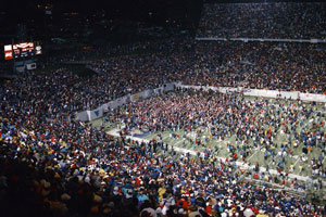 Crwod swarming the field after the 1993 victory over Miami.
