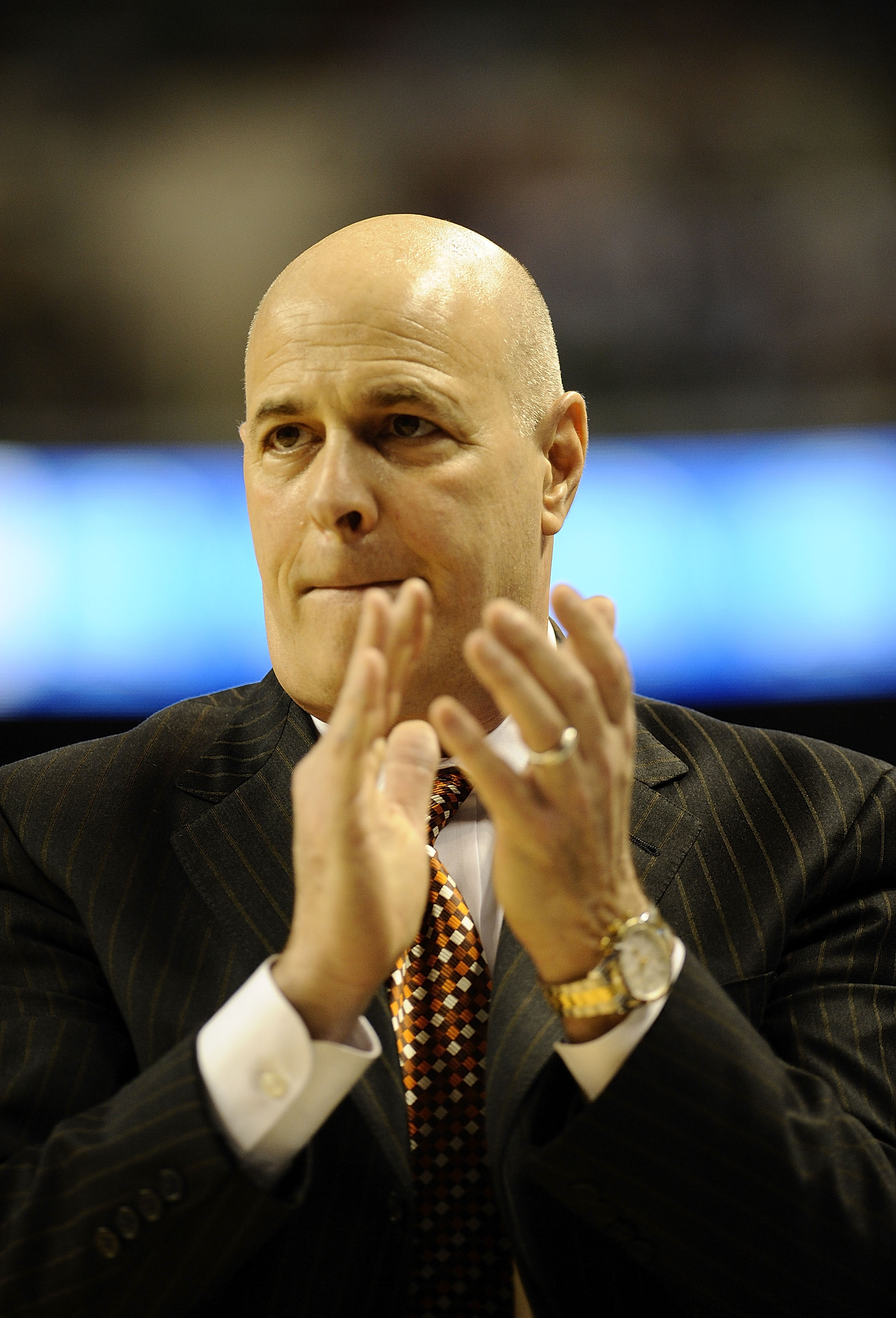 GREENSBORO, NC - MARCH 12:  Seth Greenberg, head coach of the Virginia Tech Hokies walks the sidelines against the University of Miami Hurricanes in their quarterfinal game in the 2010 ACC Men's Basketball Tournament at the Greensboro Coliseum on March 12