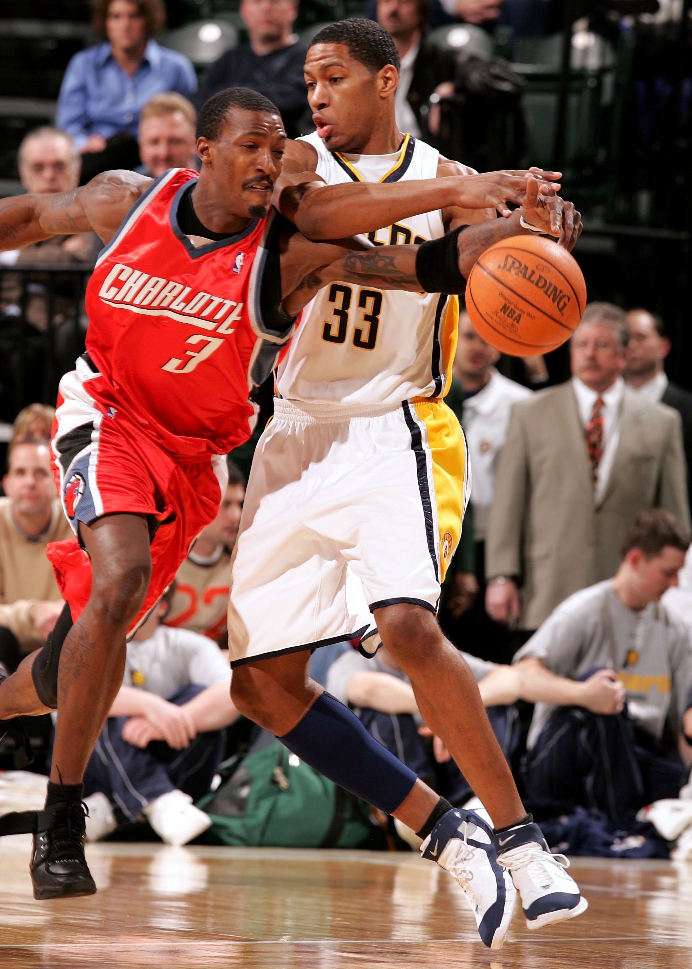 INDIANAPOLIS - JANUARY 18:  Gerald Wallace #3 of the Charlotte Bobcats steals the ball away from Danny Granger #33 of the Indiana Pacers on January 18, 2006 at Conseco Fieldhouse in Indianapolis, Indiana. The Pacers defeated the Bobcats 98-92.  NOTE TO US