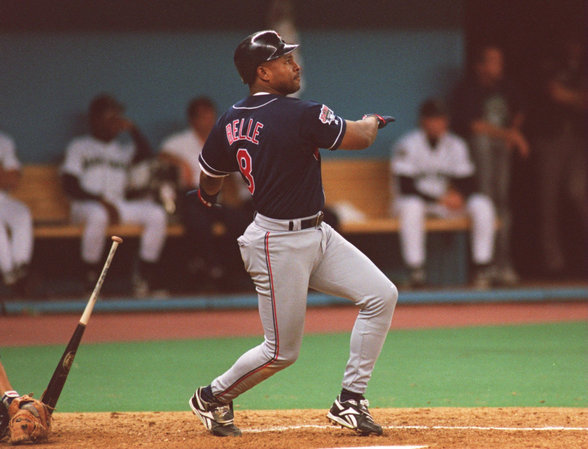 10 Oct 1995:  Right fielder Albert Belle of the Cleveland Indians stares into the outfield as he watches the flight of his home run hit in the seventh inning of the American League Championship Series against the Seattle Mariners at the Kingdome in Seattl
