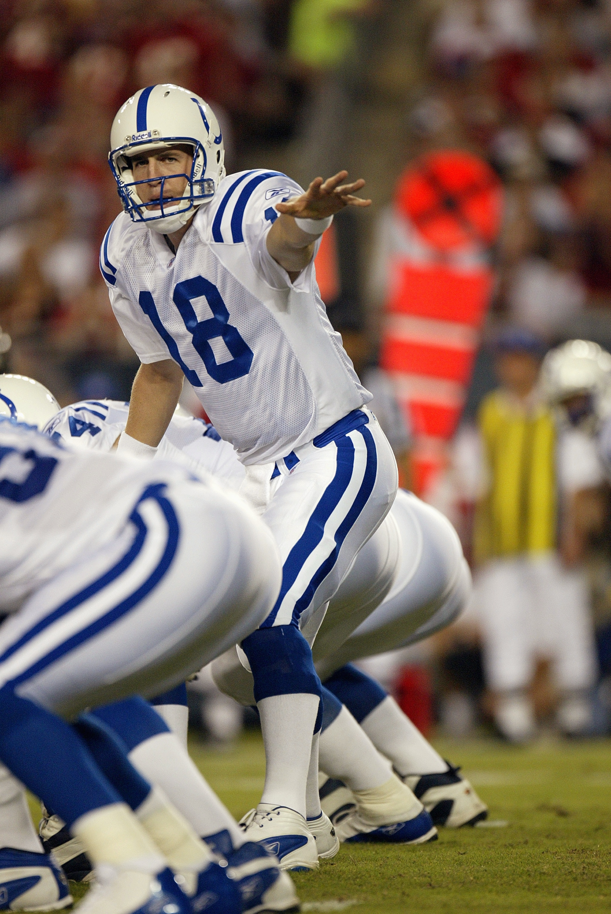 TAMPA, FL - OCTOBER 6:  Quarterback Peyton Manning #18 of the Indianapolis Colts calls an audible against the Tampa Bay Buccaneers on October 6, 2003 at Raymond James Stadium in Tampa, Florida. The Colts defeated the Buccaneers 38-35 in overtime. (Photo b
