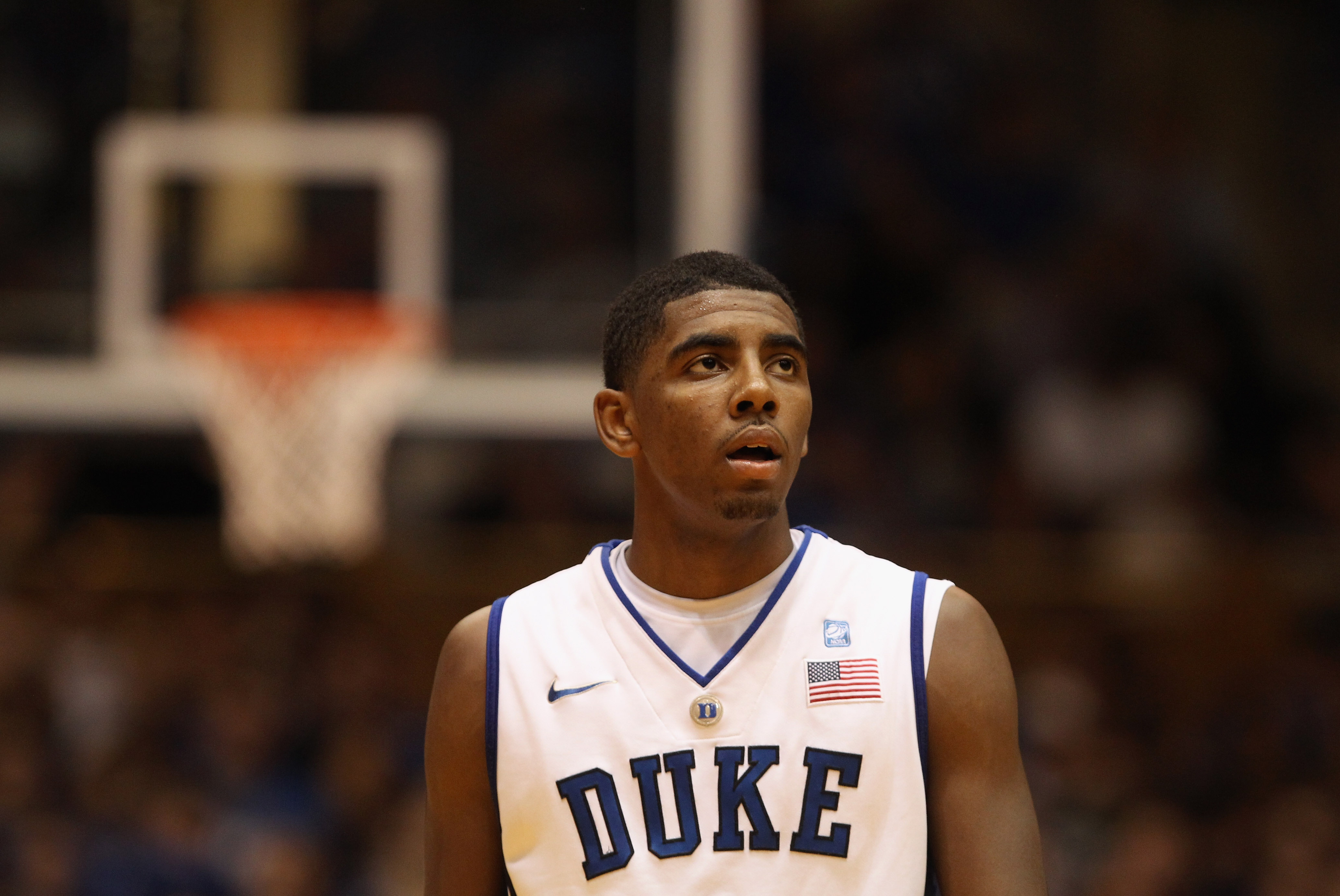 DURHAM, NC - DECEMBER 01:  Kyrie Irving #1 of the Duke Blue Devils watches on during their game against the Michigan State Spartans at Cameron Indoor Stadium on December 1, 2010 in Durham, North Carolina.  (Photo by Streeter Lecka/Getty Images)