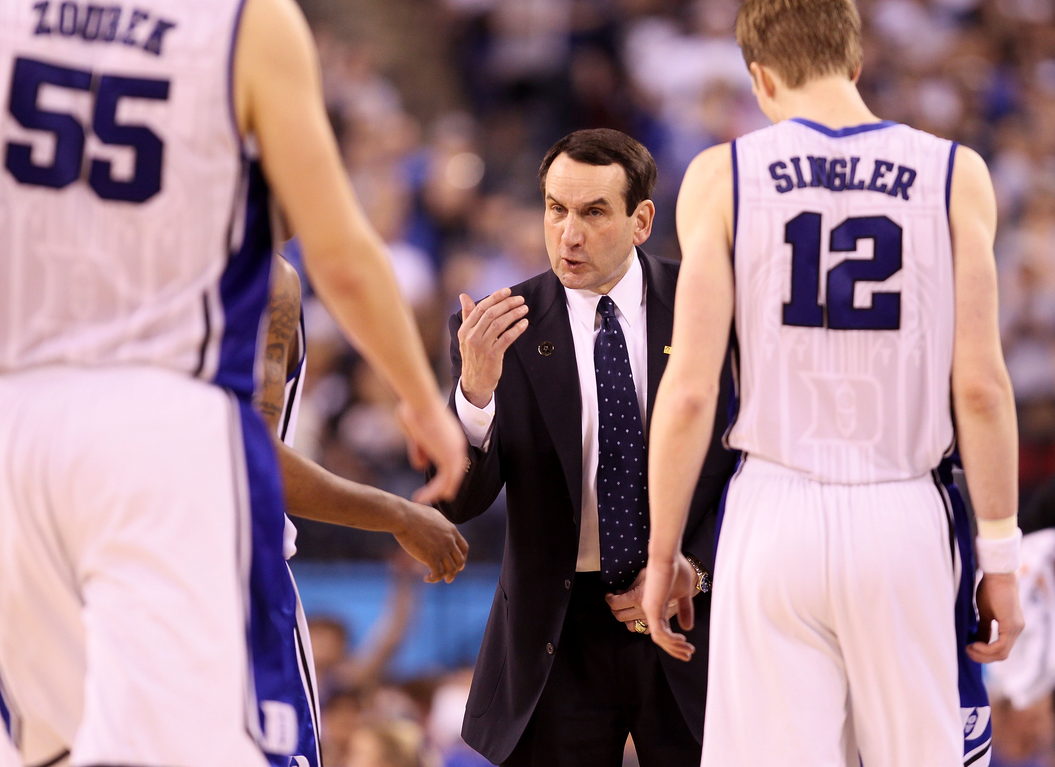 INDIANAPOLIS - APRIL 05:  Head coach Mike Krzyzewski of the Duke Blue Devils gestures towards his players at a timeout against the Butler Bulldogs during the 2010 NCAA Division I Men's Basketball National Championship game at Lucas Oil Stadium on April 5,