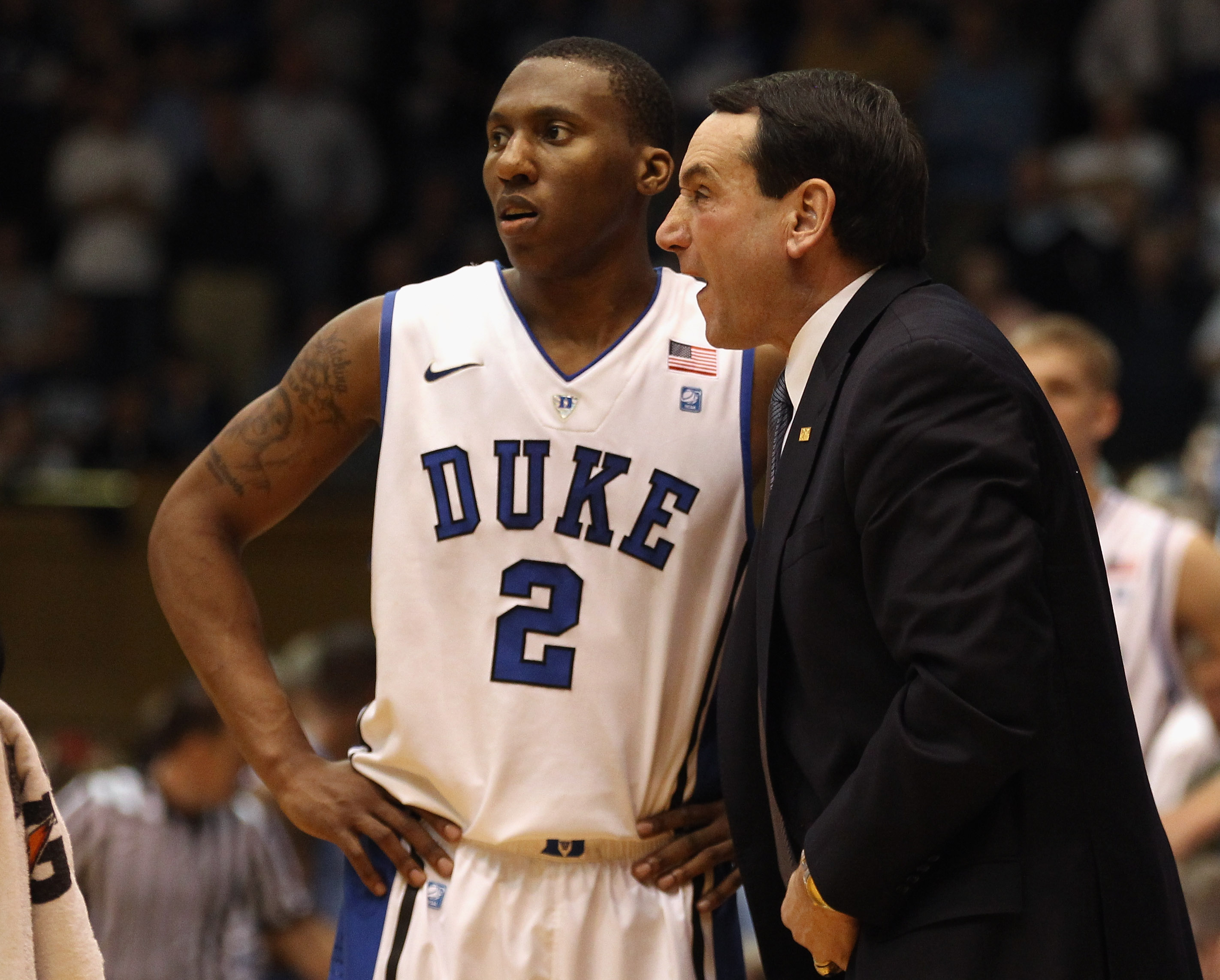 DURHAM, NC - FEBRUARY 09:  Head coach Mike Krzyzewski and Nolan Smith #2 of the Duke Blue Devils against the North Carolina Tar Heels during their game at Cameron Indoor Stadium on February 9, 2011 in Durham, North Carolina.  (Photo by Streeter Lecka/Gett