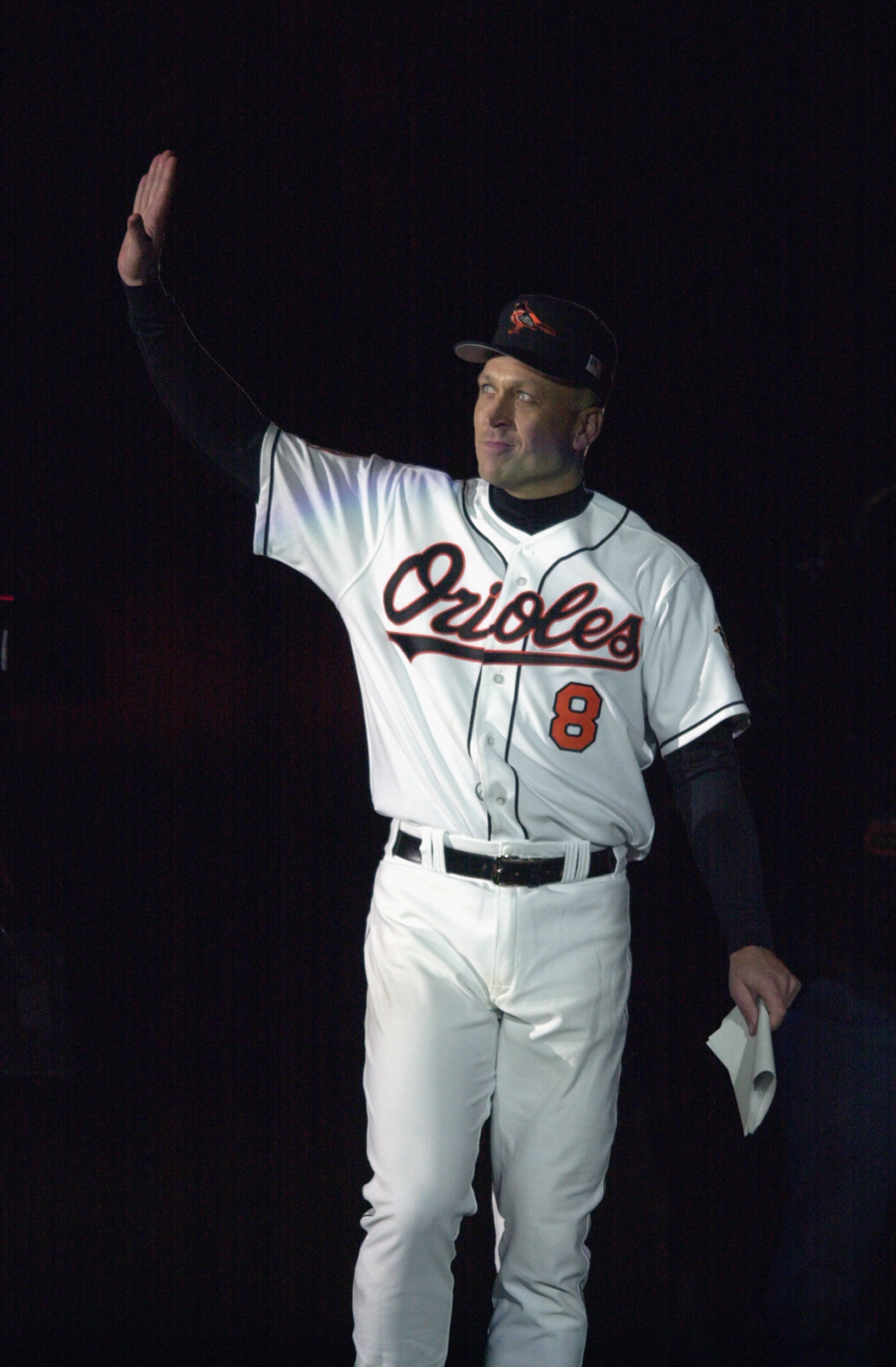 BALTIMORE - OCTOBER 6:  Cal Ripken Jr. #8 of the Baltimore Orioles waves to the crowd, during the October 6, 2001 ceremony to honor Ripken's 3001st and final game of his career. After the ceremony, the Baltimore Orioles would lose to the Boston Red Sox, 2