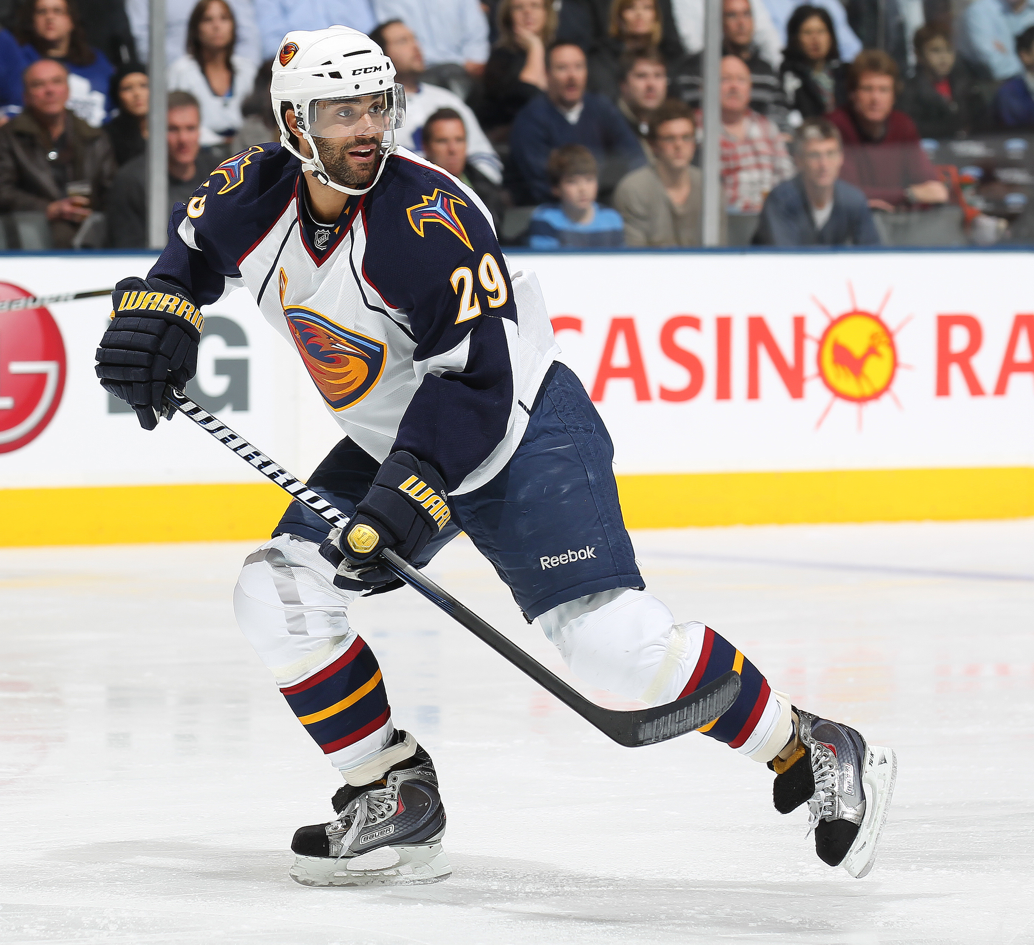 TORONTO, CAN - FEBRUARY 7:  Johnny Oduya #29 of the Atlanta Thrashers skates in a game against the Toronto Maple Leafs on February 7, 2011 at the Air Canada Centre in Toronto, Canada. The Leafs defeated the Thrashers 5-4. (Photo by Claus Andersen/Getty Im