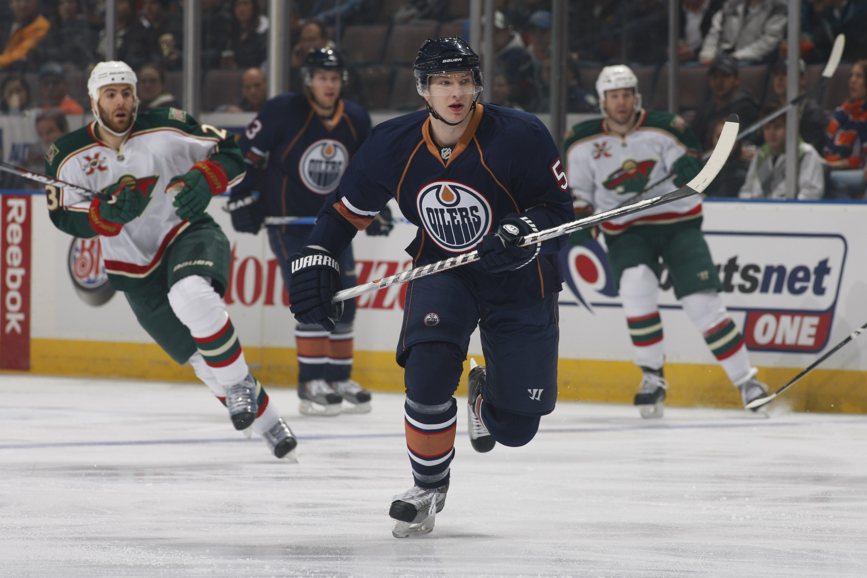 EDMONTON, CANADA - JANUARY 18: Ladislav Smid #5 of the Edmonton Oilers skates against the Minnesota Wild on January 18, 2011 at Rexall Place in Edmonton, Alberta, Canada. (Photo by Dale MacMillan/Getty Images)