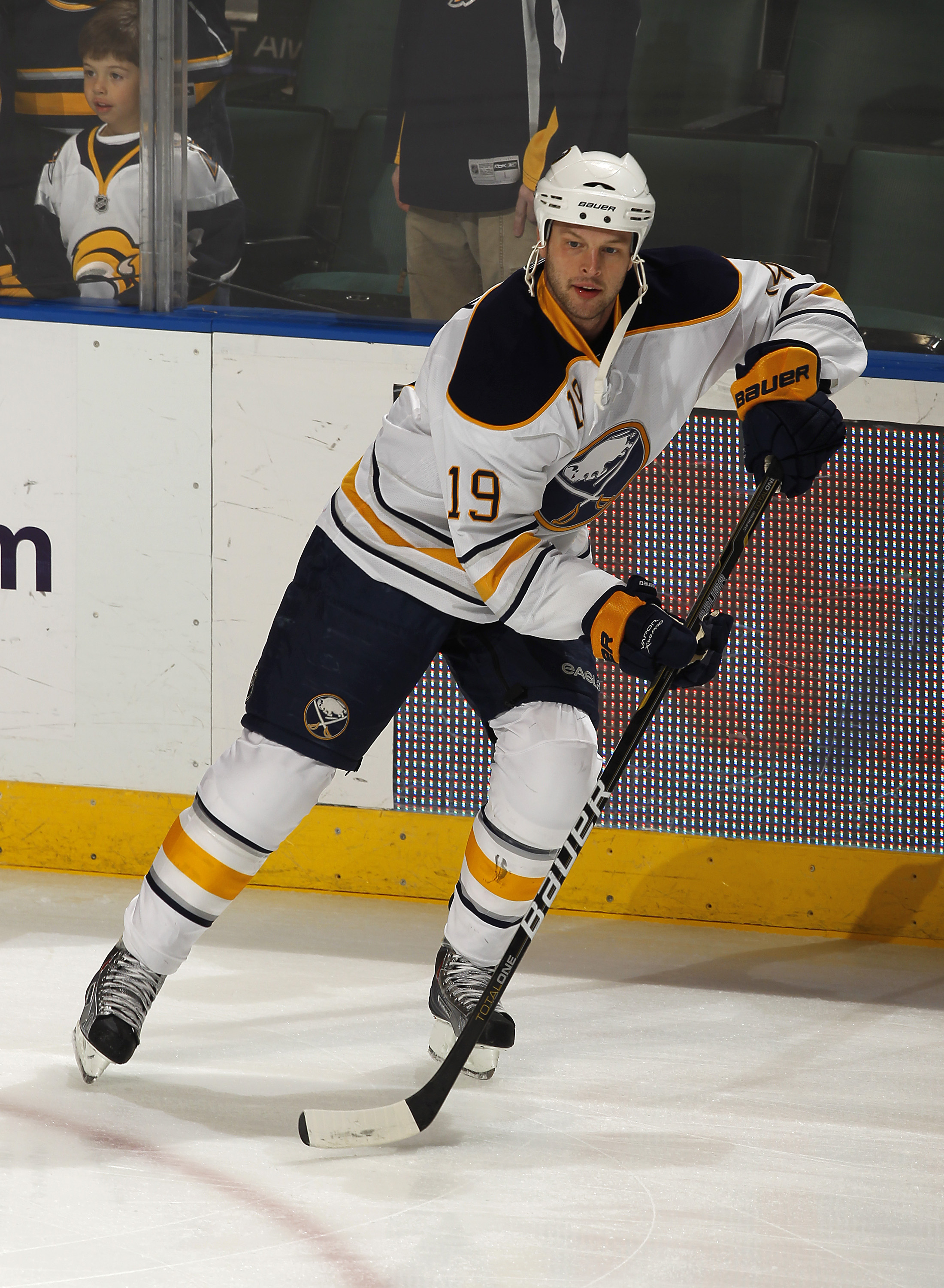 SUNRISE, FL - DECEMBER 17: Tim Connolly #19 of the Buffalo Sabres skates prior to the game against the Florida Panthers on December 17, 2010 at the BankAtlantic Center in Sunrise, Florida. (Photo by Joel Auerbach/Getty Images)