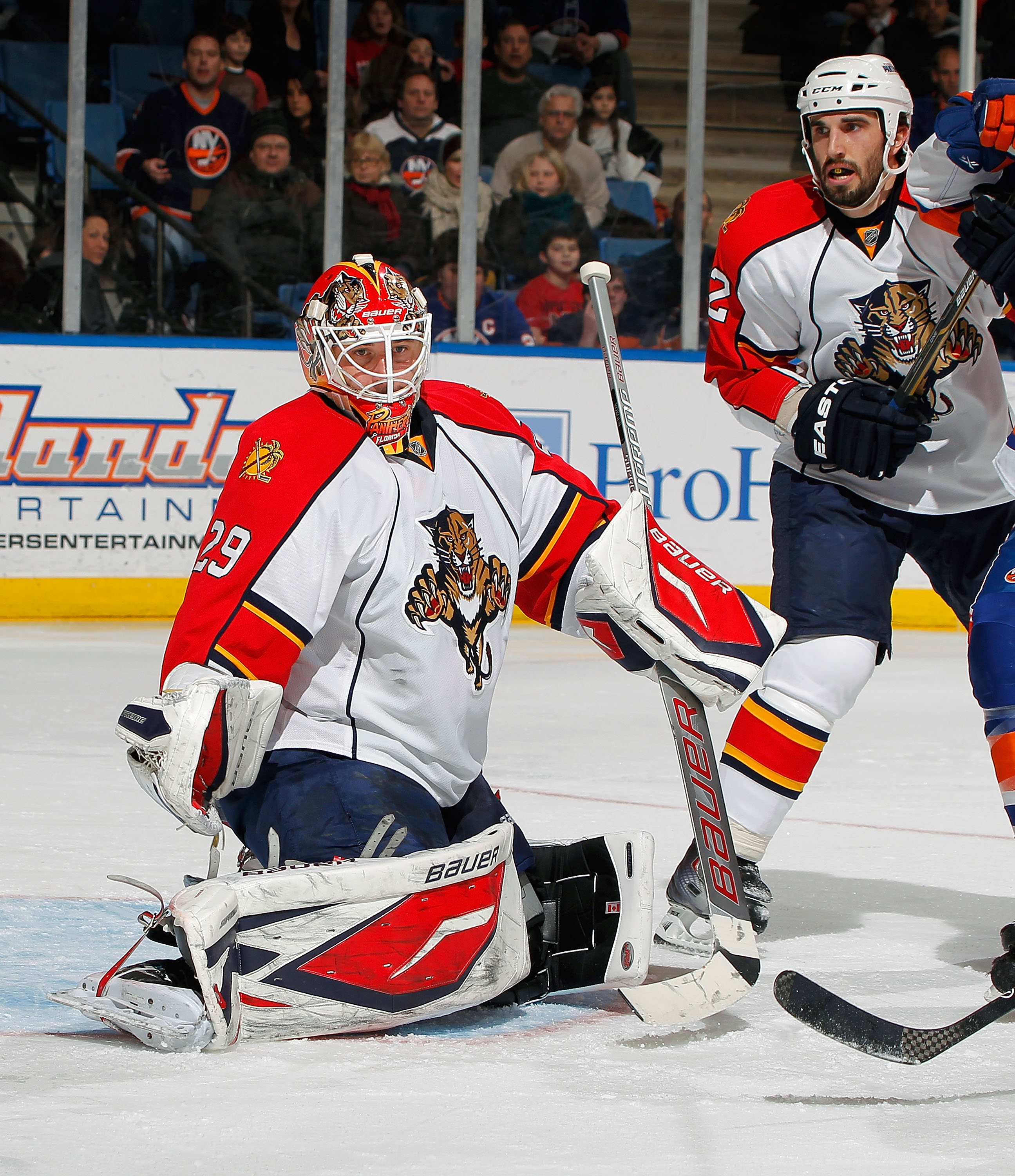 UNIONDALE, NY - FEBRUARY 21:  Goalie Tomas Vokoun #29 of the Florida Panthers makes a save during an NHL hockey game against the New York Islanders at the Nassau Coliseum on February 21, 2011 in Uniondale, New York.  (Photo by Paul Bereswill/Getty Images)