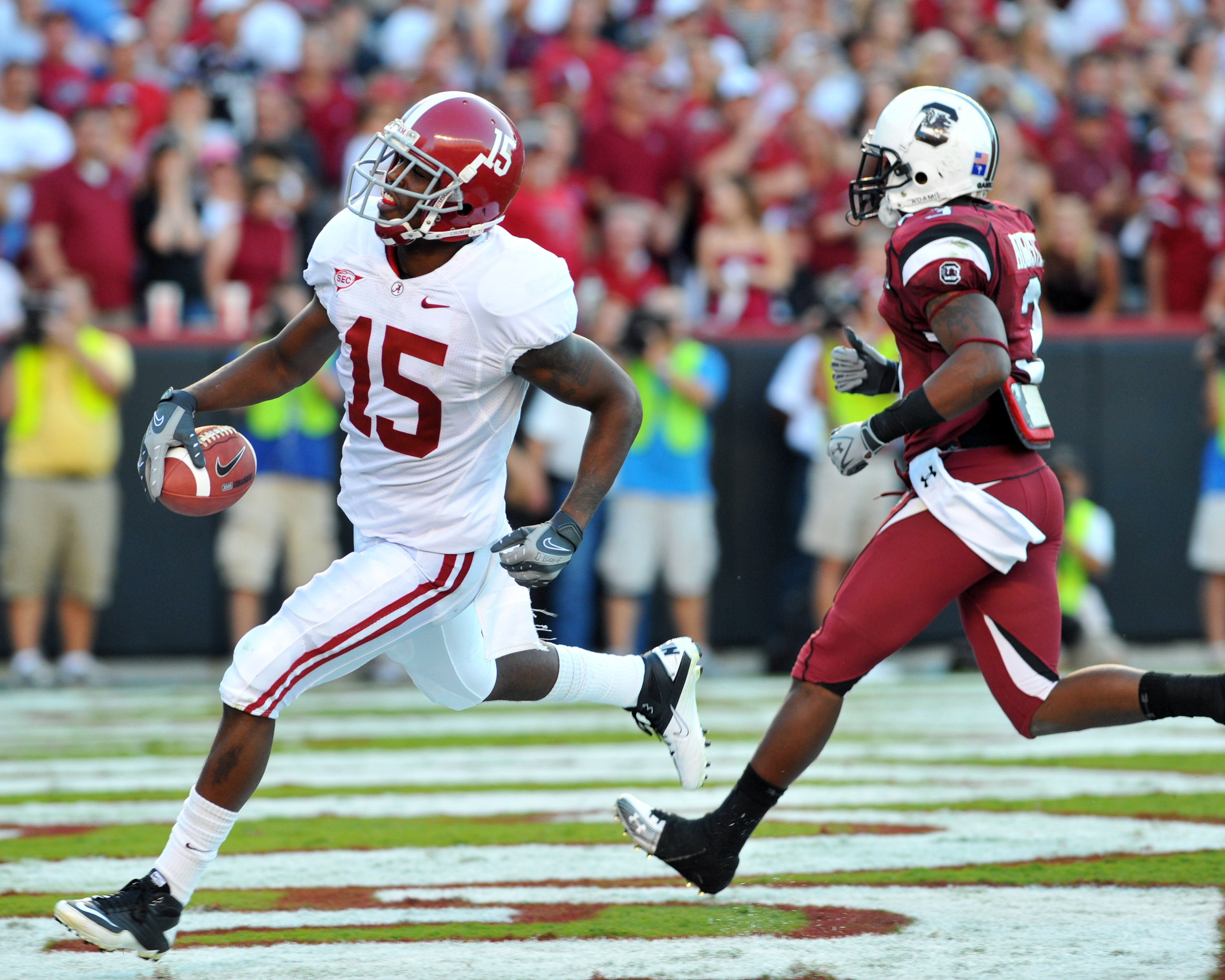 COLUMBIA, SC - OCTOBER 9: Wide receiver Darius Hanks #15 of the Alabama Crimson Tide scores with a 51 yard touchdown pass against the South Carolina Gamecocks October 9, 2010 at Williams-Brice Stadium in Columbia, South Carolina.  (Photo by Al Messerschmi