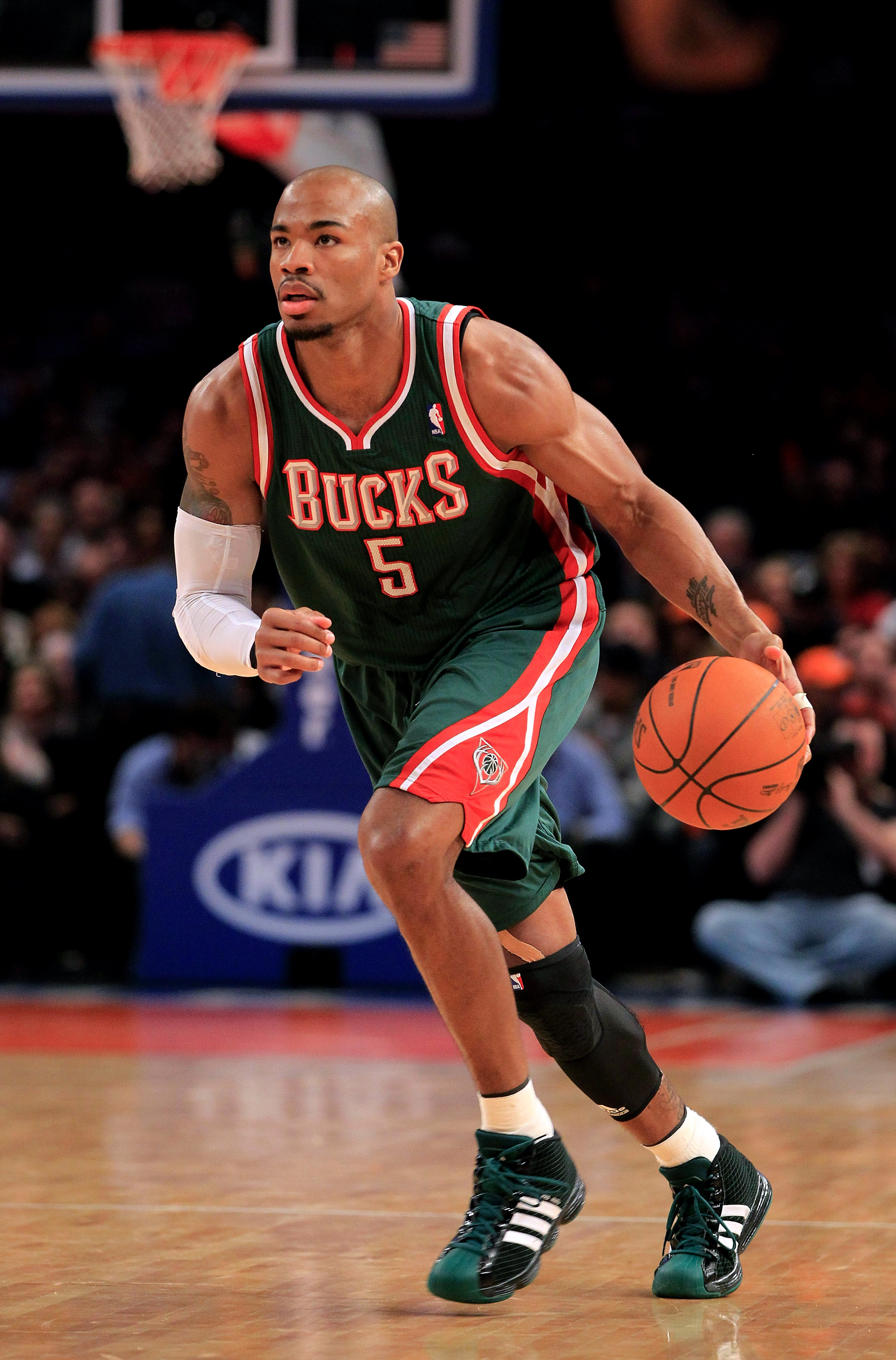 NEW YORK, NY - FEBRUARY 23: Corey Maggette #5 of the Milwaukee Bucks dribbles the ball against the New York Knicks at Madison Square Garden on February 23, 2011 in New York City. NOTE TO USER: User expressly acknowledges and agrees that, by downloading an