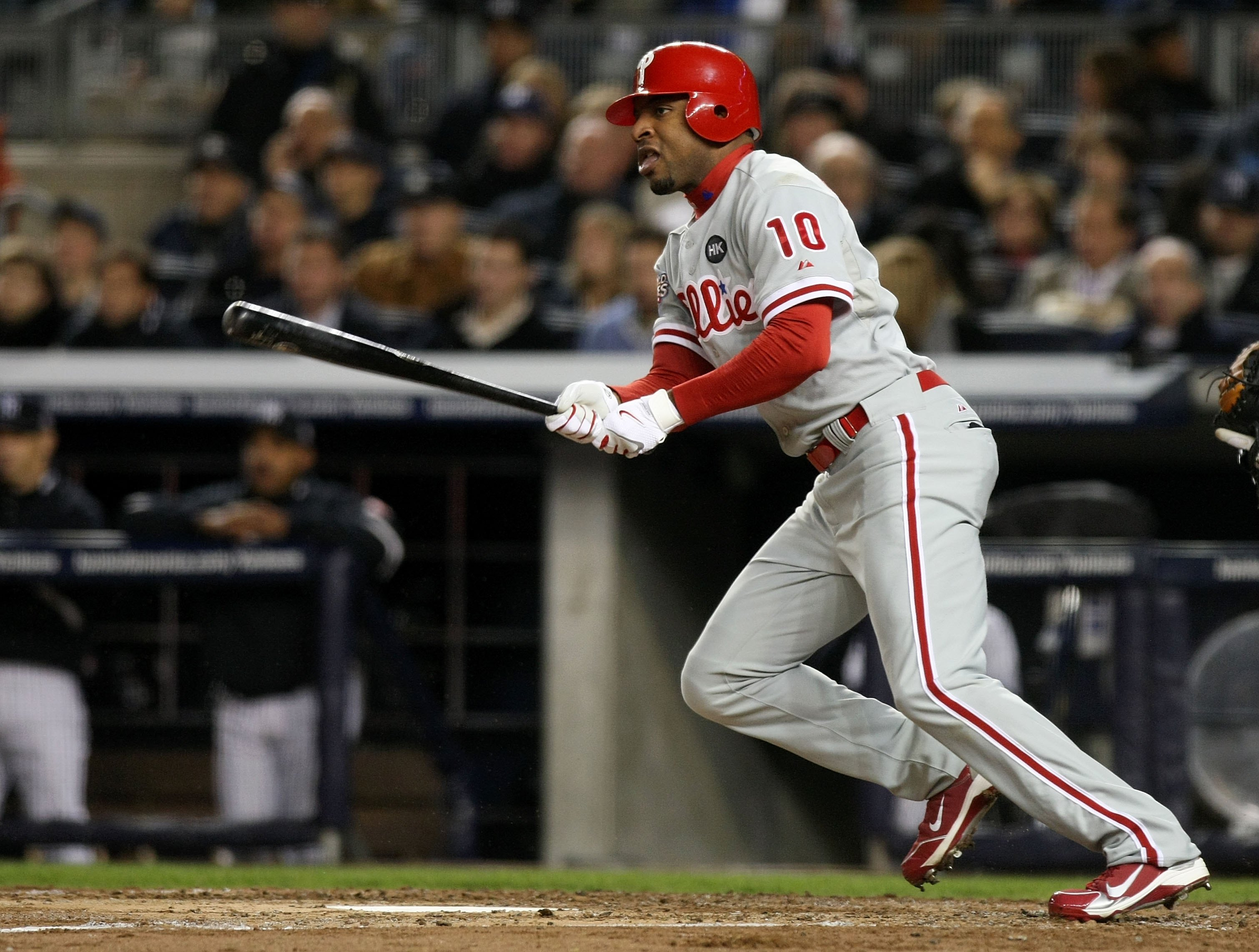 NEW YORK - NOVEMBER 04:  Ben Francisco #10 of the Philadelphia Phillies bats against the New York Yankees in Game Six of the 2009 MLB World Series at Yankee Stadium on November 4, 2009 in the Bronx borough of New York City.  (Photo by Nick Laham/Getty Ima