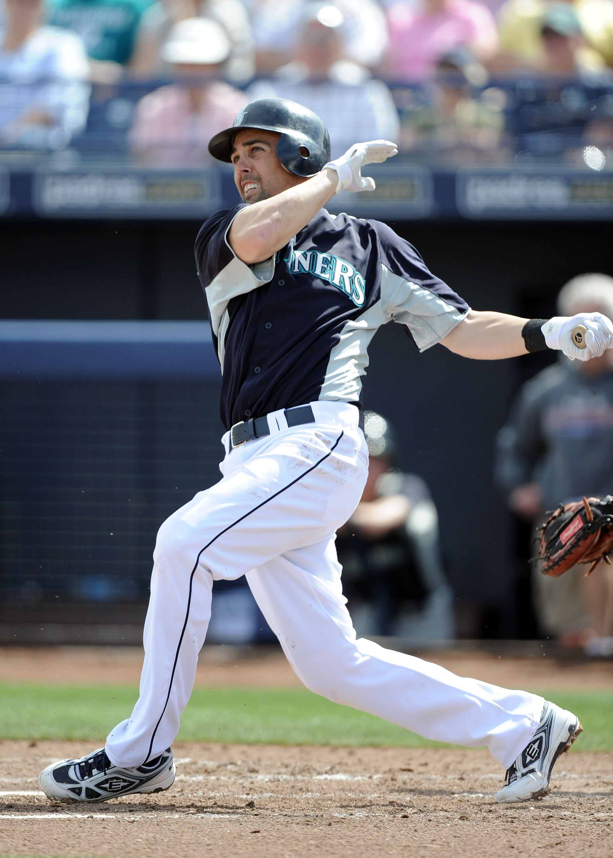 PEORIA, AZ - MARCH 01:  Jack Wilson #2 of the Seattle Mariners at bat against the Texas Rangers during spring training at Peoria Stadium on March 1, 2011 in Peoria, Arizona.  (Photo by Harry How/Getty Images)