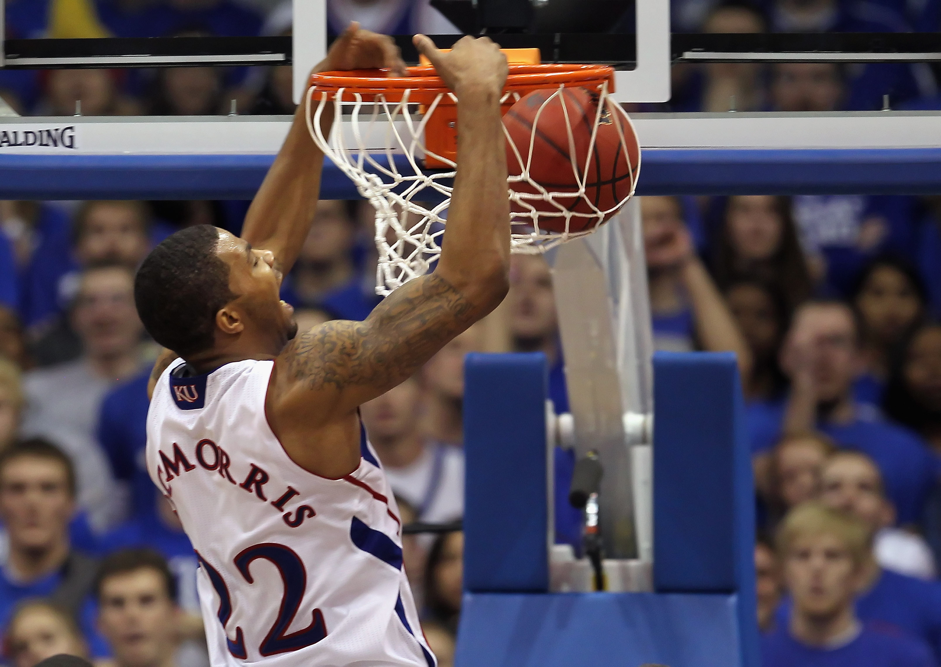 LAWRENCE, KS - JANUARY 15:  Marcus Morris #22 of the Kansas Jayhawks dunks during the game against the Nebraska Cornhuskers on January 15, 2011 at Allen Fieldhouse in Lawrence, Kansas.  (Photo by Jamie Squire/Getty Images)