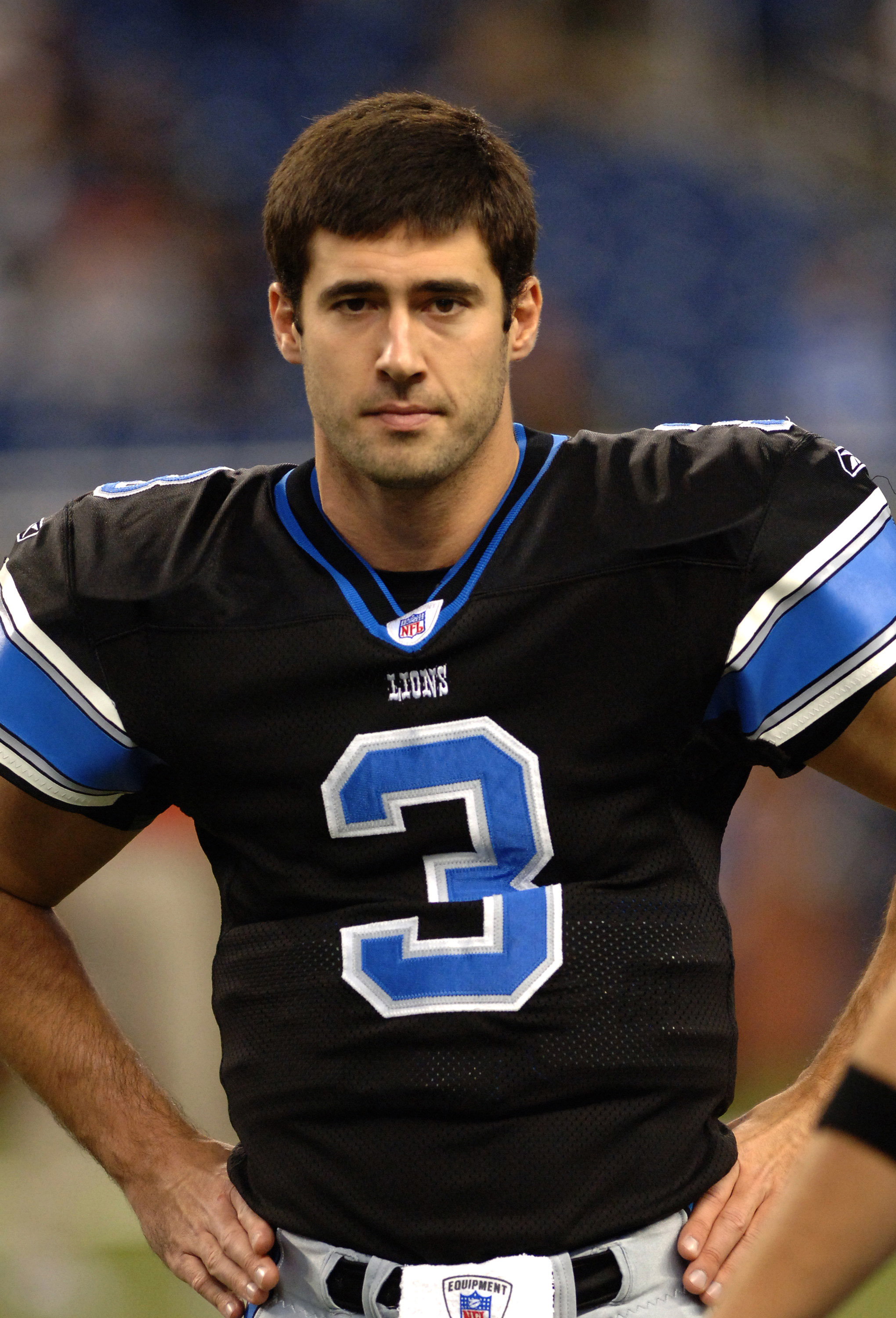 Detroit Lions quarterback Joey Harrington watches play in a Thanksgiving Day game, November 24, 2005, at Ford Field, Detroit.  The Atlanta Falcons defeated the Lions 27 - 7.  (Photo by Al Messerschmidt/Getty Images)