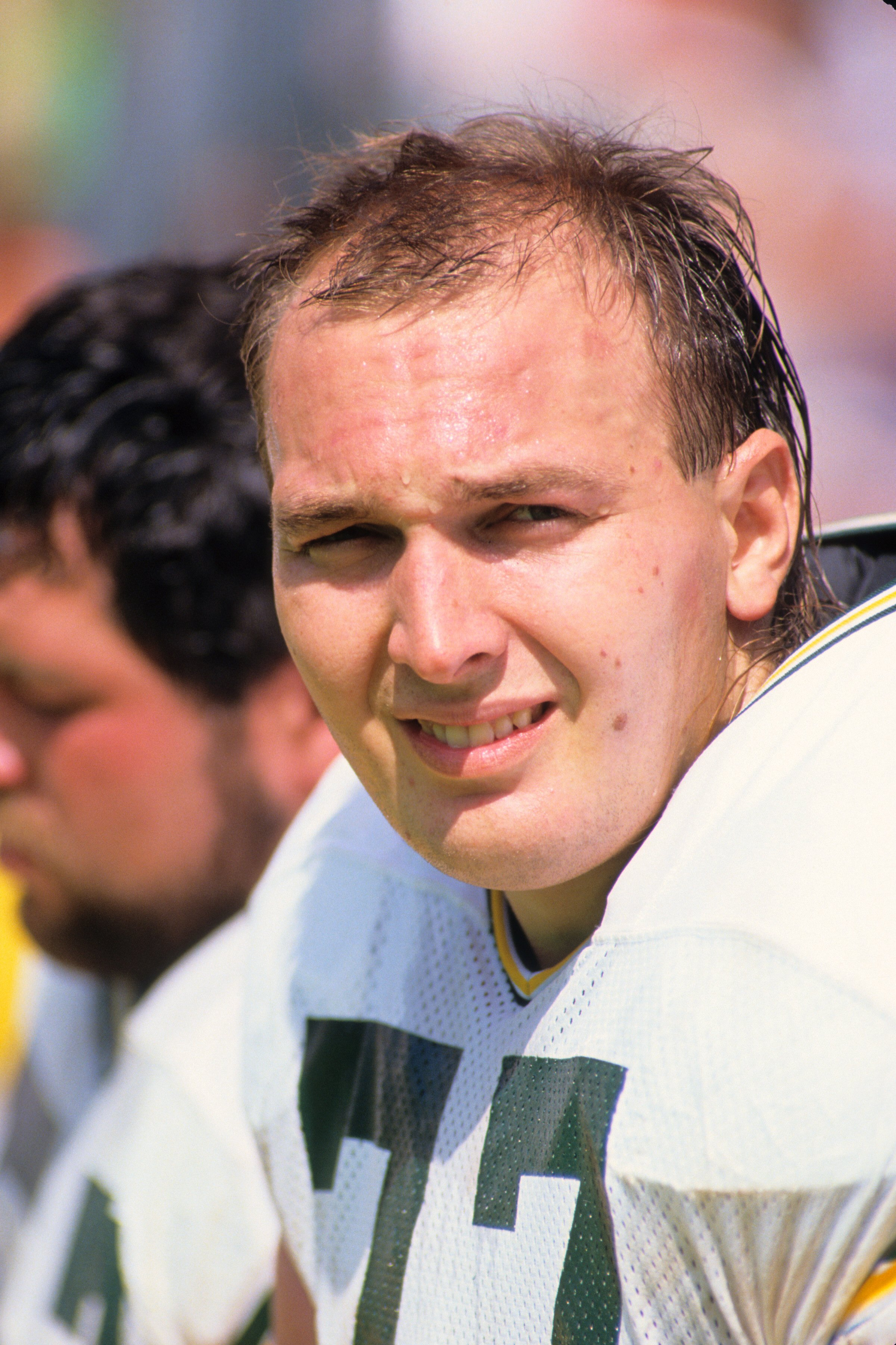 ANAHEIM, CA - SEPTEMBER 24:  Tony Mandarich #77 of the Green Bay Packers looks on during the game against the Los Angeles Rams at Anaheim Stadium on September 24, 1989 in Anaheim, California.  The Rams won 41-38.  (Photo by George Rose/Getty Images)