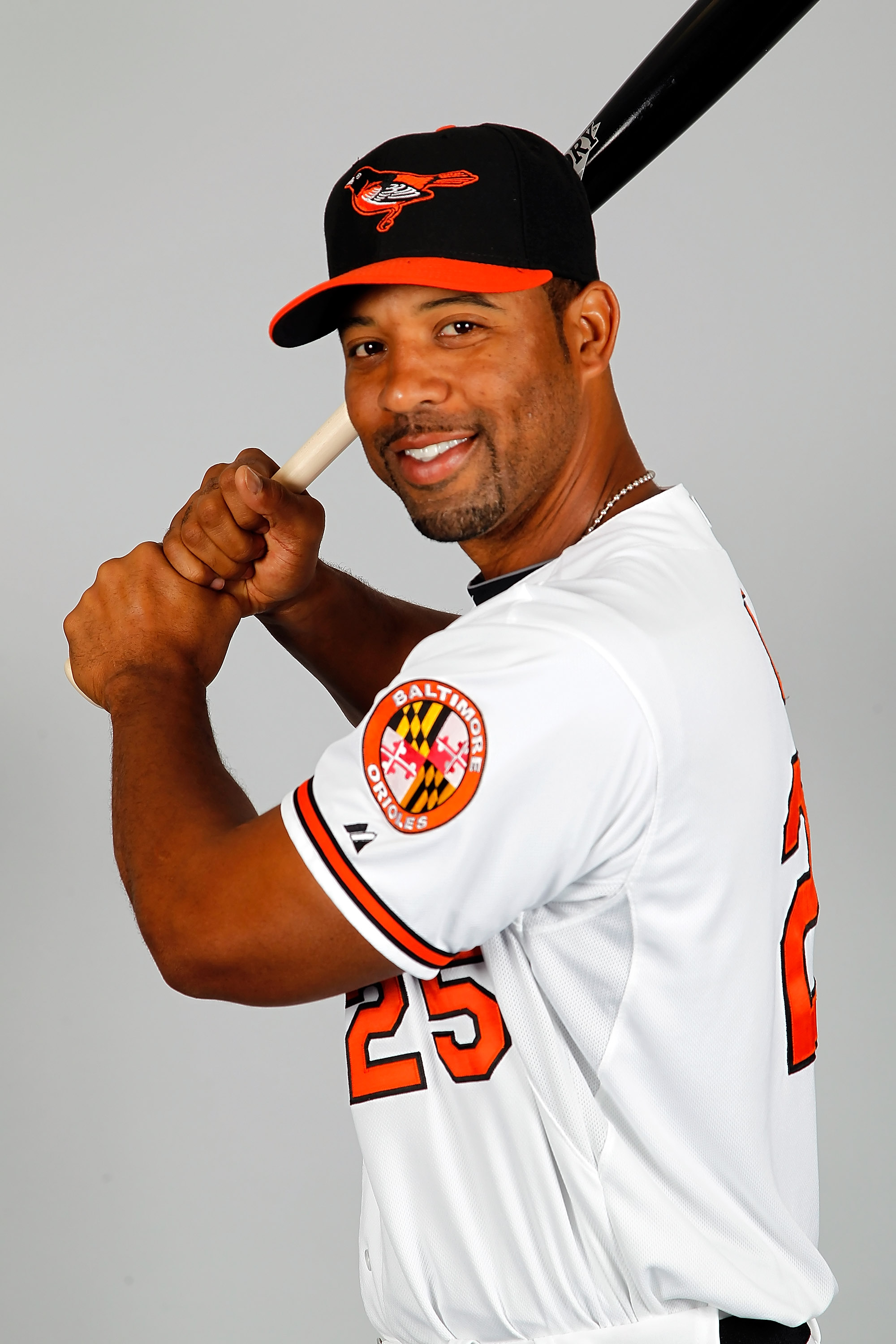 SARASOTA, FL - FEBRUARY 26:  Infielder Derrek Lee #25 of the Baltimore Orioles poses for a photo during photo day at Ed Smith Stadium on February 26, 2011 in Sarasota, Florida.  (Photo by J. Meric/Getty Images)