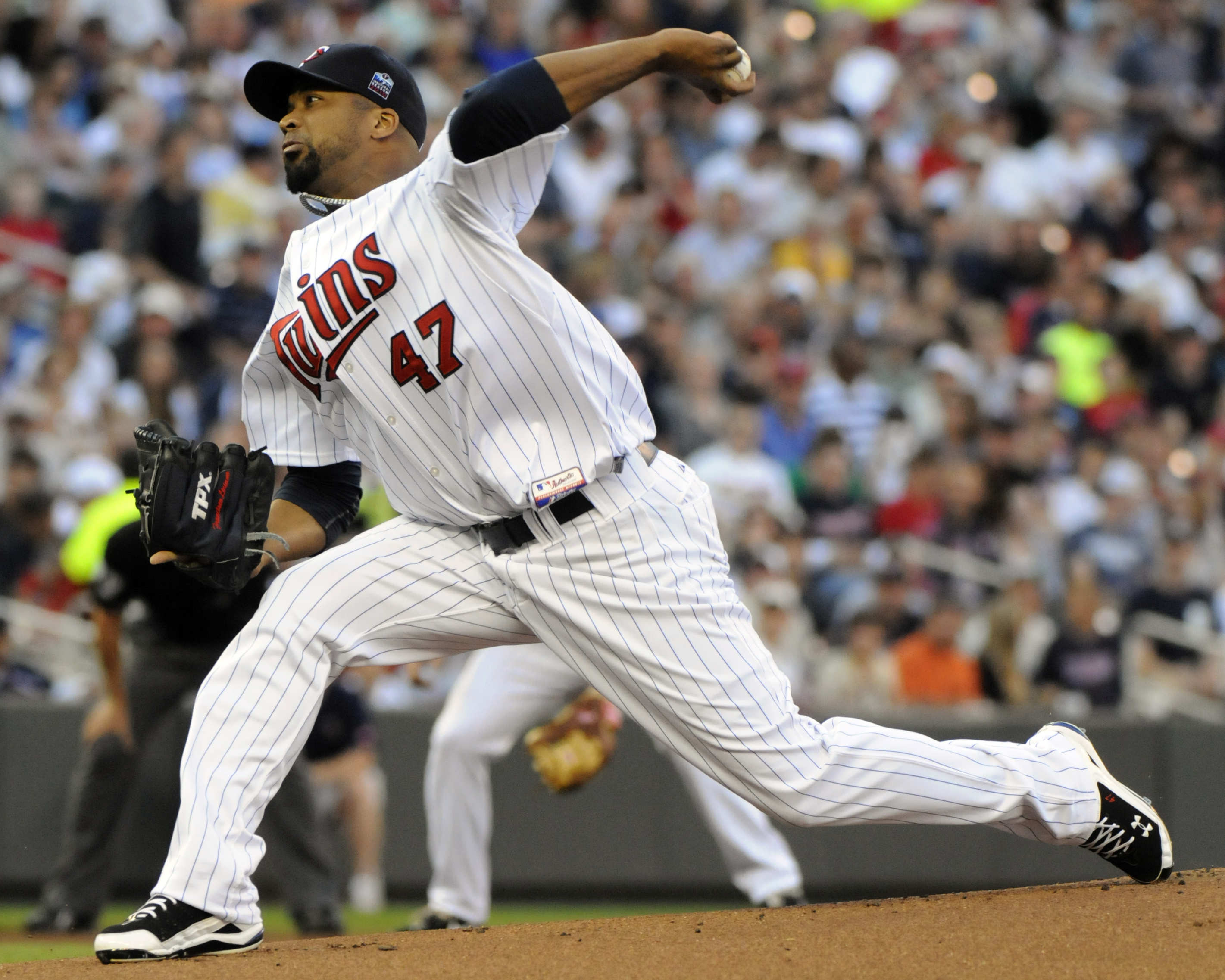 MINNEAPOLIS, MN - JUNE 28:  Francisco Liriano #47 of the Minnesota Twins pitches in the first inning against the Detroit Tigers during their game on June 28, 2010 at Target Field in Minneapolis, Minnesota. (Photo by Hannah Foslien /Getty Images)