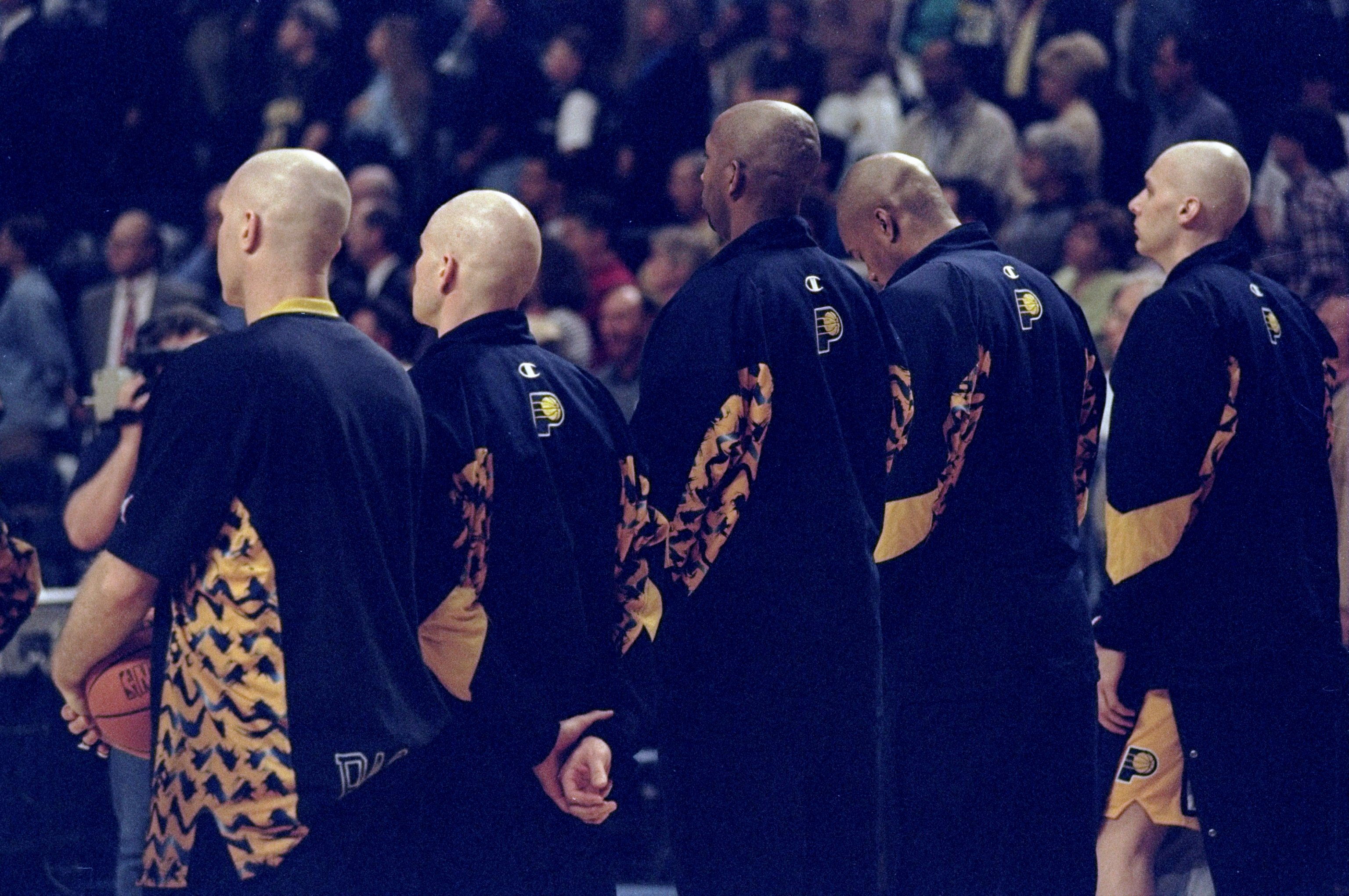 23 Apr 1998:  General view of the Indiana Pacers and their bald heads during an NBA playoff game against the Cleveland Cavaliers at the Market Square Arena in Indianapolis, Indiana.  The Pacers defeated the Cavaliers 106-77. Mandatory Credit: Vincent Lafo