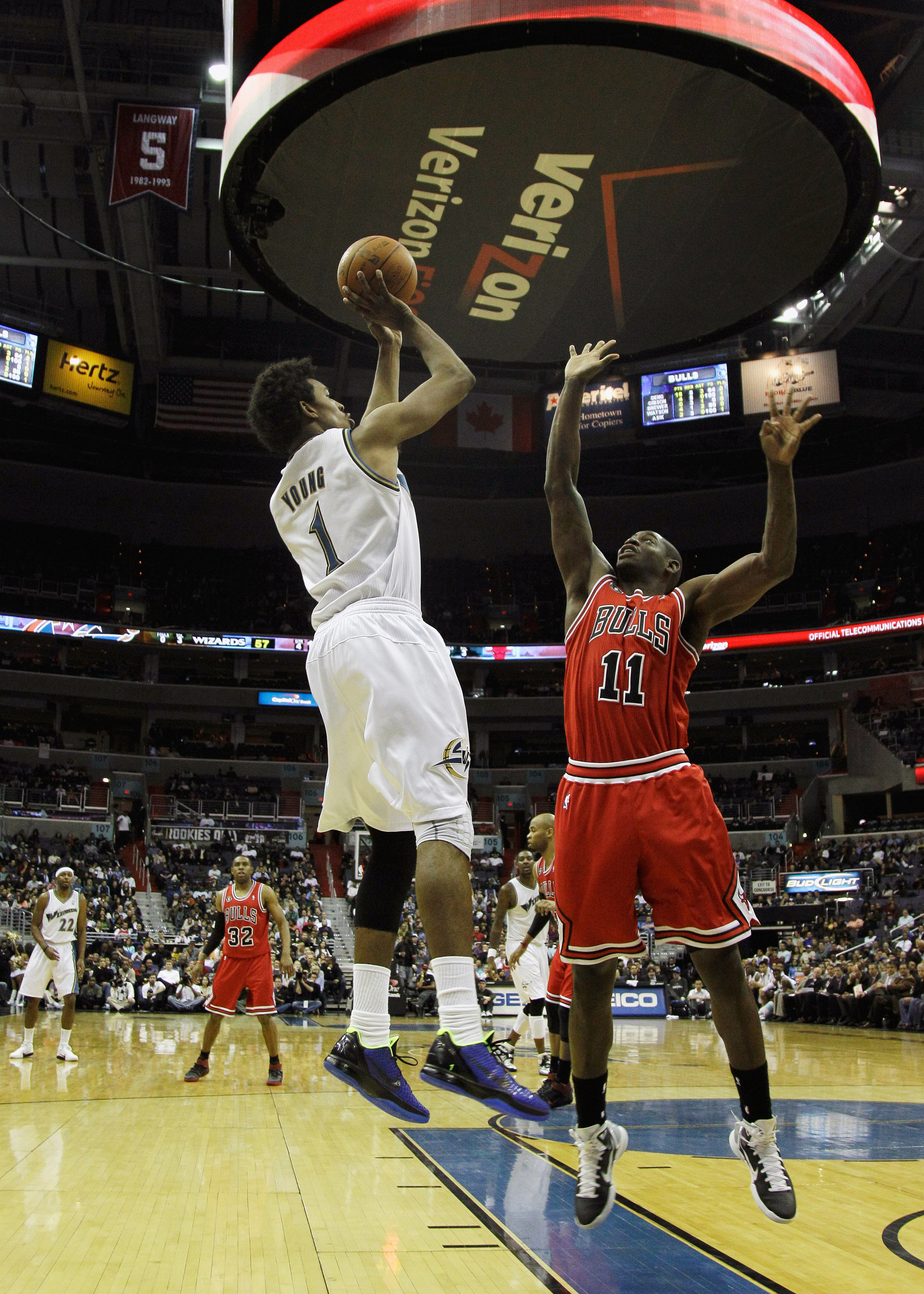 WASHINGTON, DC - FEBRUARY 28: Nick Young #1 of the Washington Wizards shoots over Ronnie Brewer #11 of the Chicago Bulls at the Verizon Center in Washington on February 28, 2011 in Washington, DC. NOTE TO USER: User expressly acknowledges and agrees that,