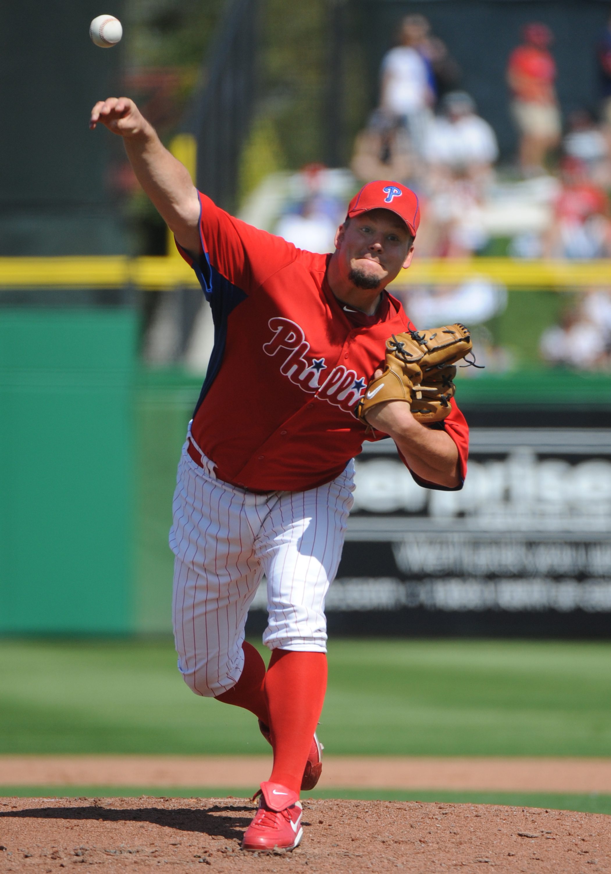 CLEARWATER, FL - FEBRUARY 27:  Pitcher Joe Blanton #56 of the  Philadelphia Phillies starts against the New York Yankees February 27, 2011 at Bright House Field in Clearwater, Florida.  (Photo by Al Messerschmidt/Getty Images)