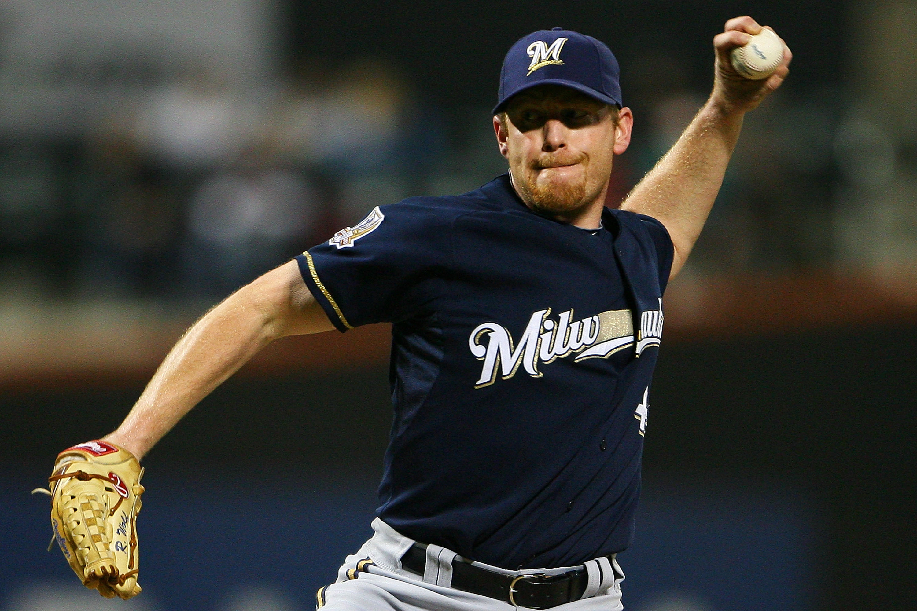 NEW YORK - SEPTEMBER 28:  Randy Wolf #43 of the Milwaukee Brewers pitches against the New York Mets on September 28, 2010 at Citi Field in the Flushing neighborhood of the Queens borough of New York City.  (Photo by Andrew Burton/Getty Images)