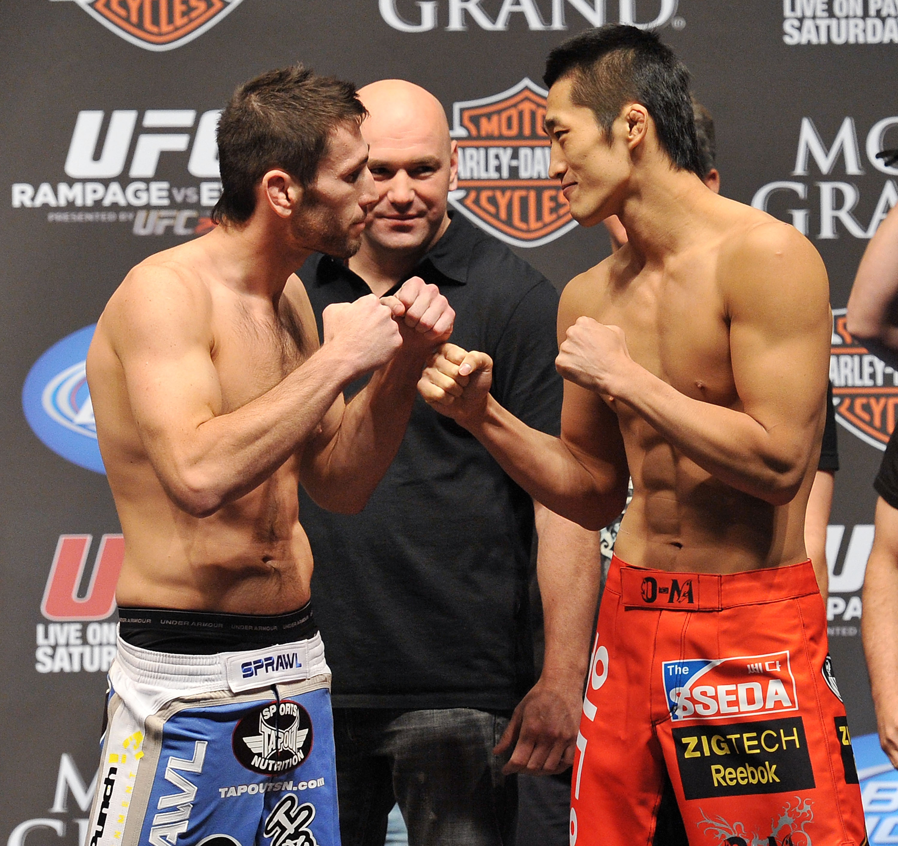 LAS VEGAS - MAY 28:  UFC fighter Amir Sadollah (L) faces off against UFC fighter Dong Hyun Kim (R) at UFC 114: Rampage versus Rashad at the Mandalay Bay Hotel on May 28, 2010 in Las Vegas, Nevada.  (Photo by Jon Kopaloff/Getty Images)