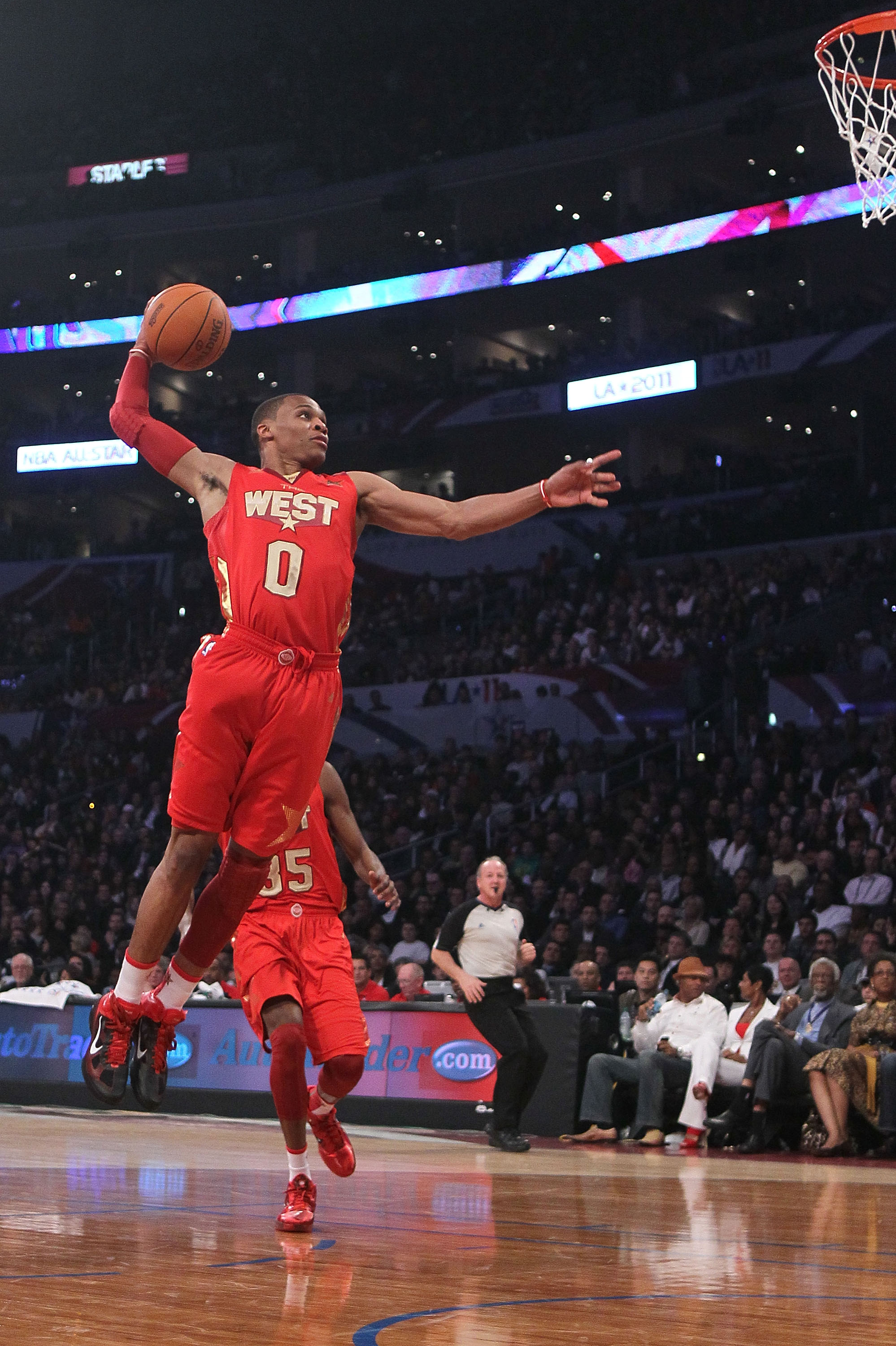 LOS ANGELES, CA - FEBRUARY 20:  Russell Westbrook #0 of the Oklahoma City Thunder and the Western Conference goes up to dunk the ball in the first half in the 2011 NBA All-Star Game at Staples Center on February 20, 2011 in Los Angeles, California. NOTE T