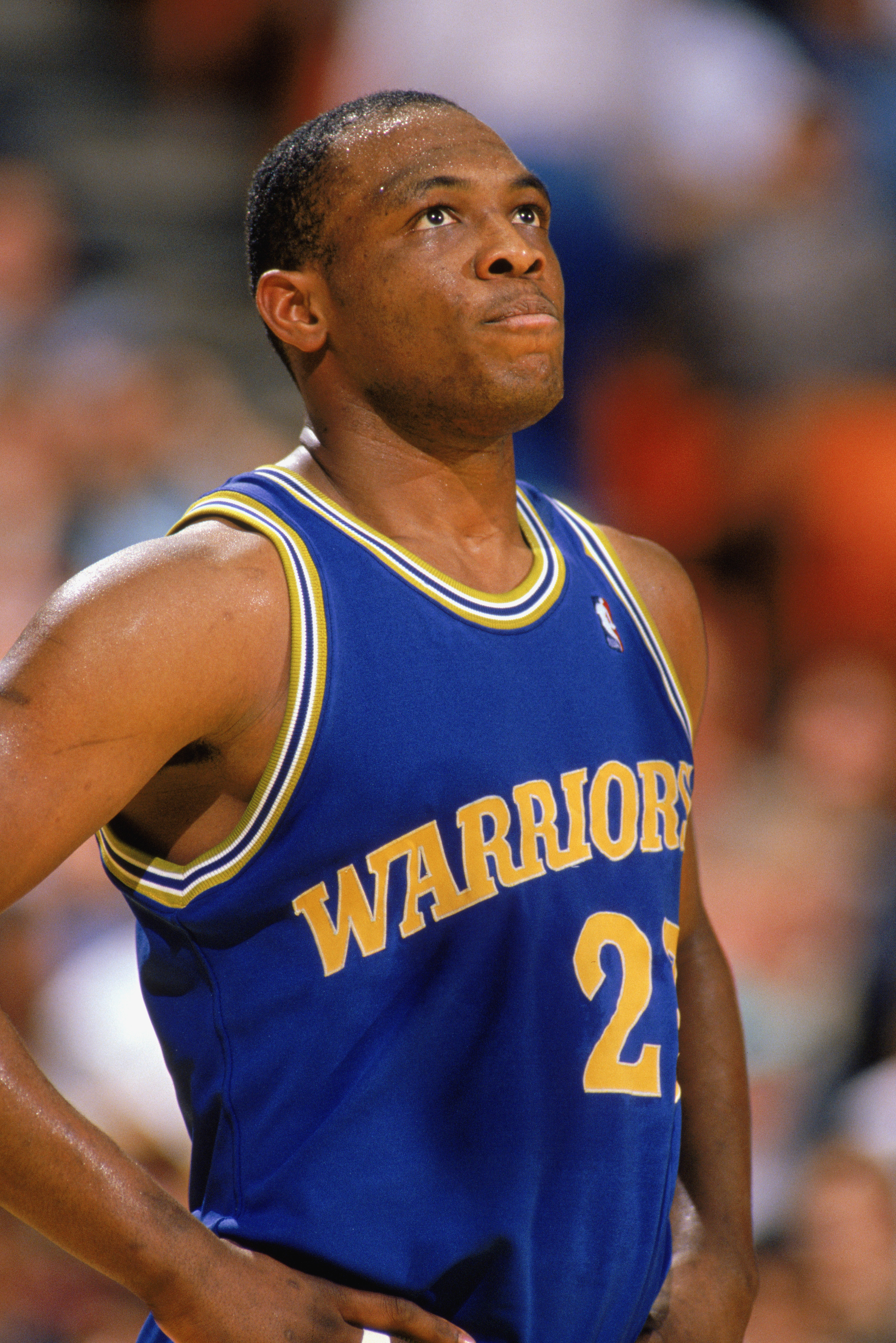 c792f0b6c1c 1989  Mitch Richmond  23 of the Golden State Warriors looks at the  scoreboard during