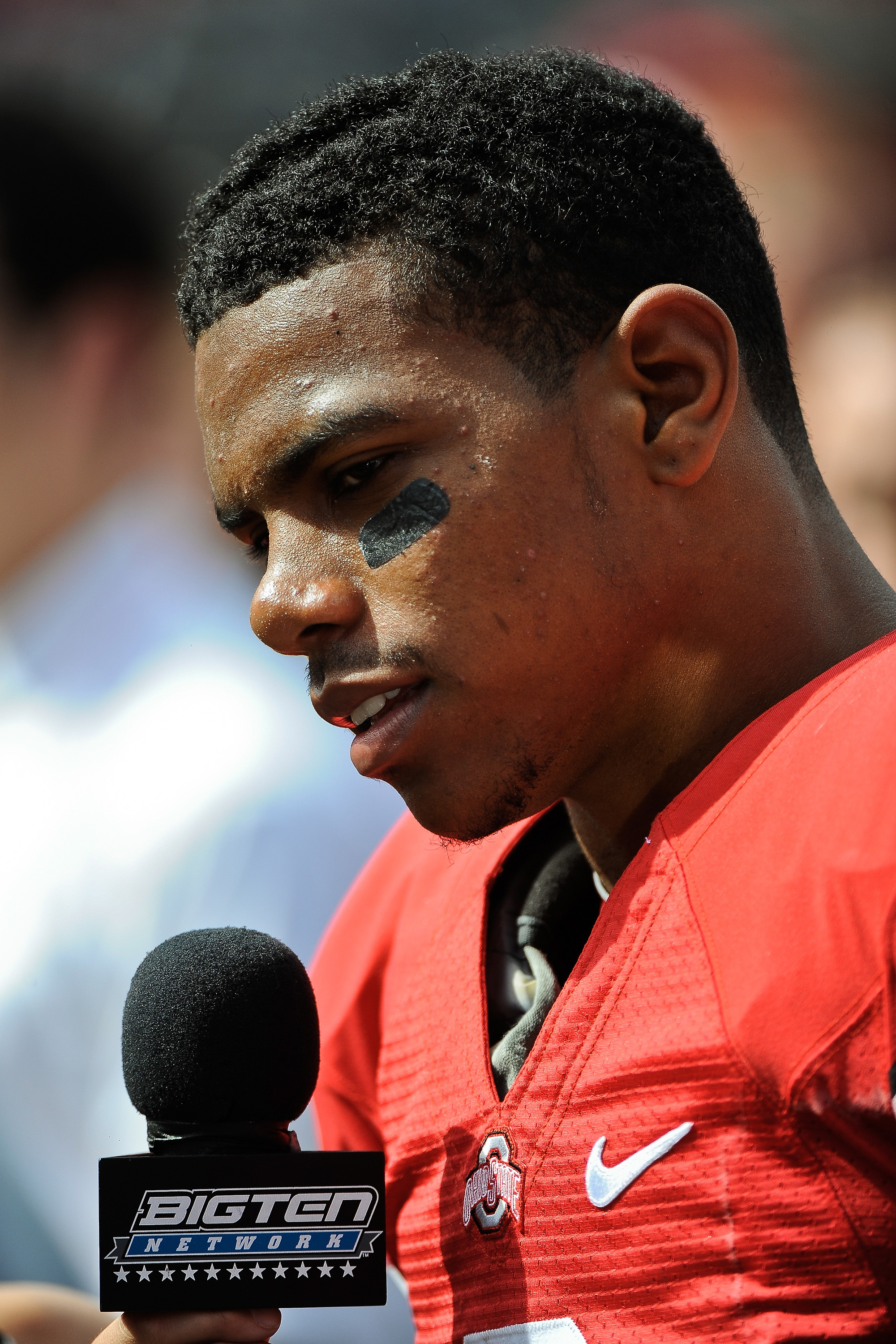 COLUMBUS, OH - SEPTEMBER 18:  Terrelle Pryor #2 of the Ohio State Buckeyes gives a television interview after a game against the Ohio Bobcats at Ohio Stadium on September 18, 2010 in Columbus, Ohio.  (Photo by Jamie Sabau/Getty Images)
