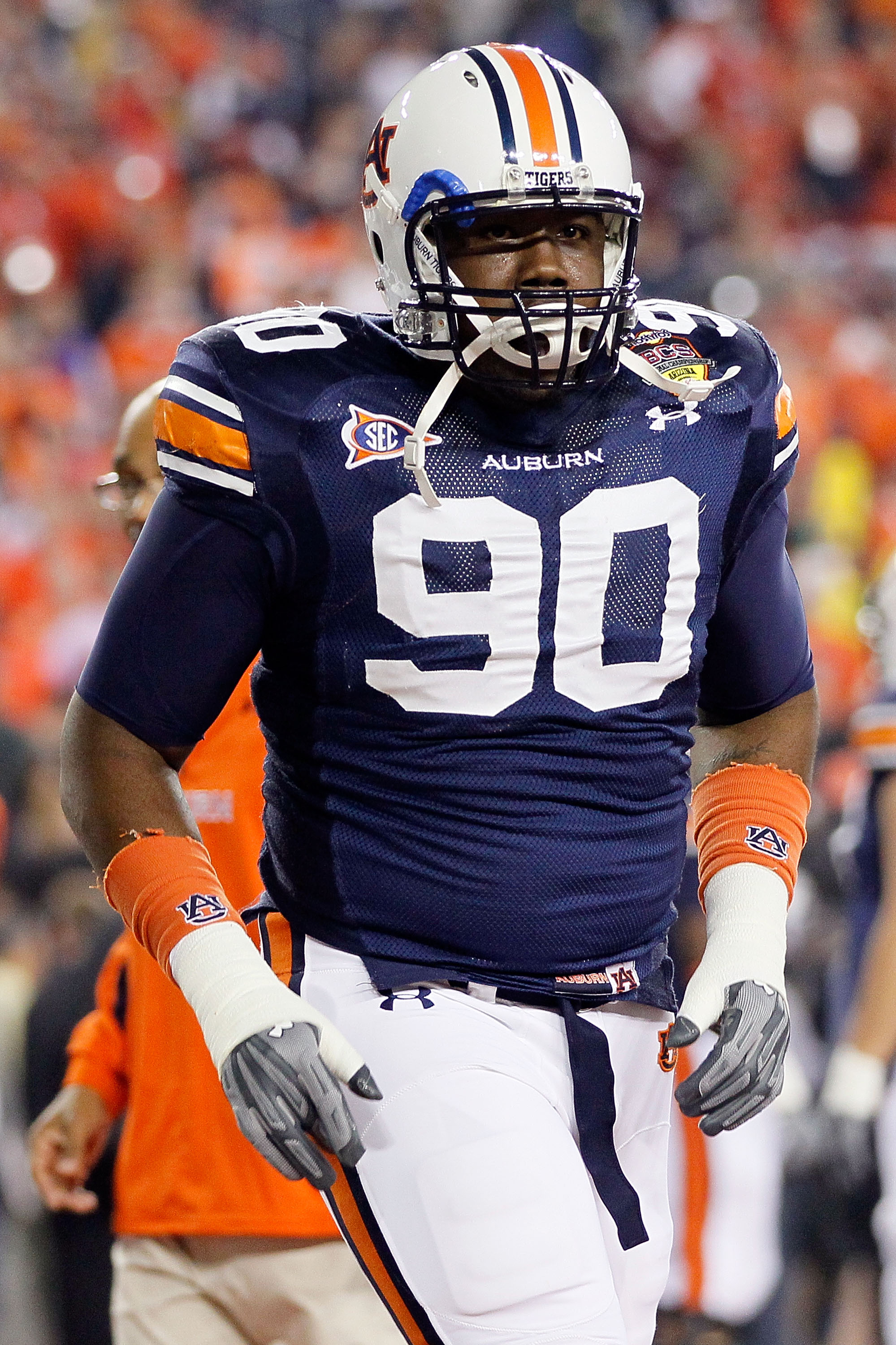 GLENDALE, AZ - JANUARY 10:  Nick Fairley #90 of the Auburn Tigers warms up before taking on the Oregon Ducks during the Tostitos BCS National Championship Game at University of Phoenix Stadium on January 10, 2011 in Glendale, Arizona.  (Photo by Kevin C.