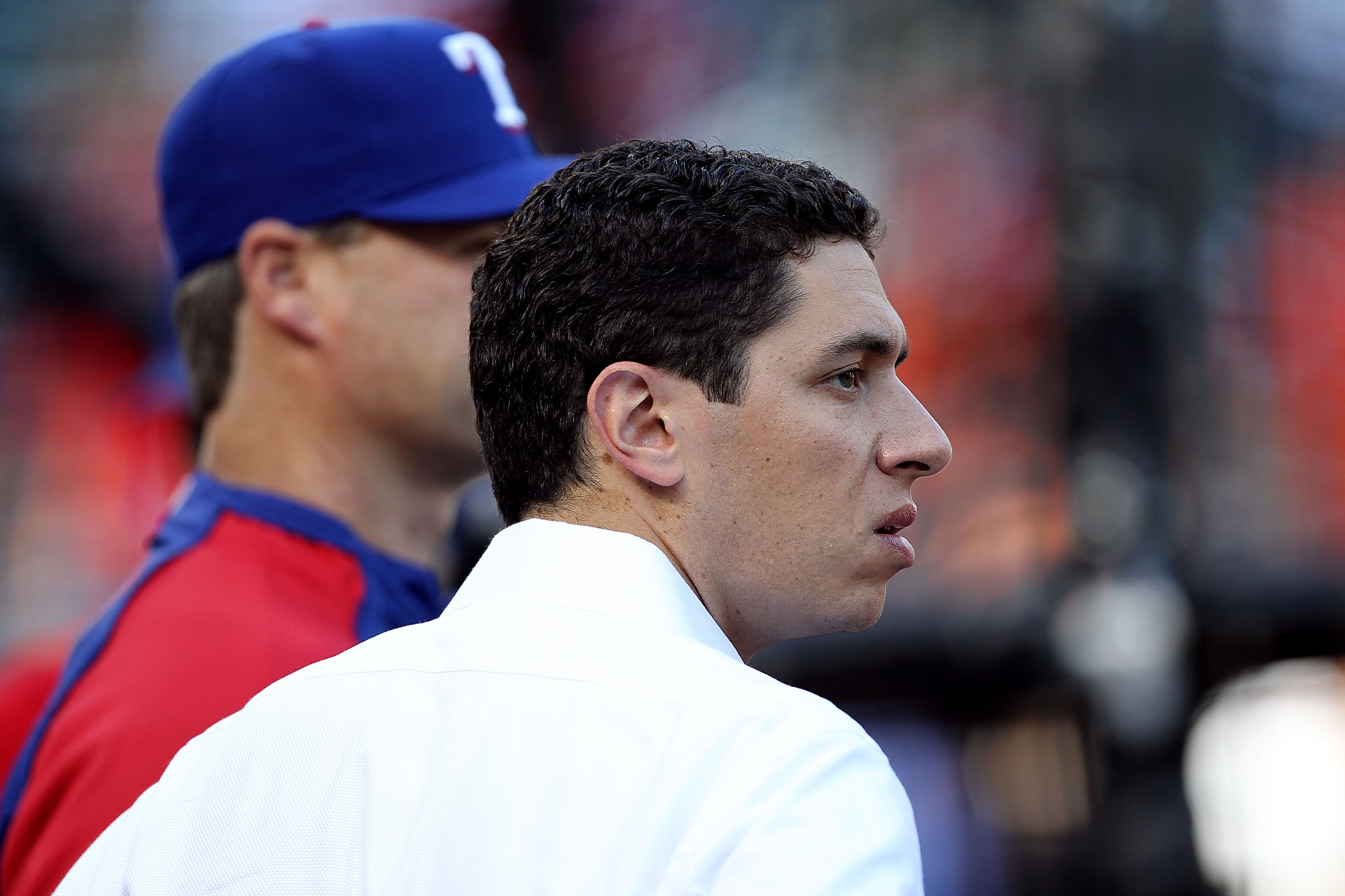 ARLINGTON, TX - NOVEMBER 01:  General Manager Jon Daniels of the Texas Rangers looks on during batting practice against the San Francisco Giants in Game Five of the 2010 MLB World Series at Rangers Ballpark in Arlington on November 1, 2010 in Arlington, T