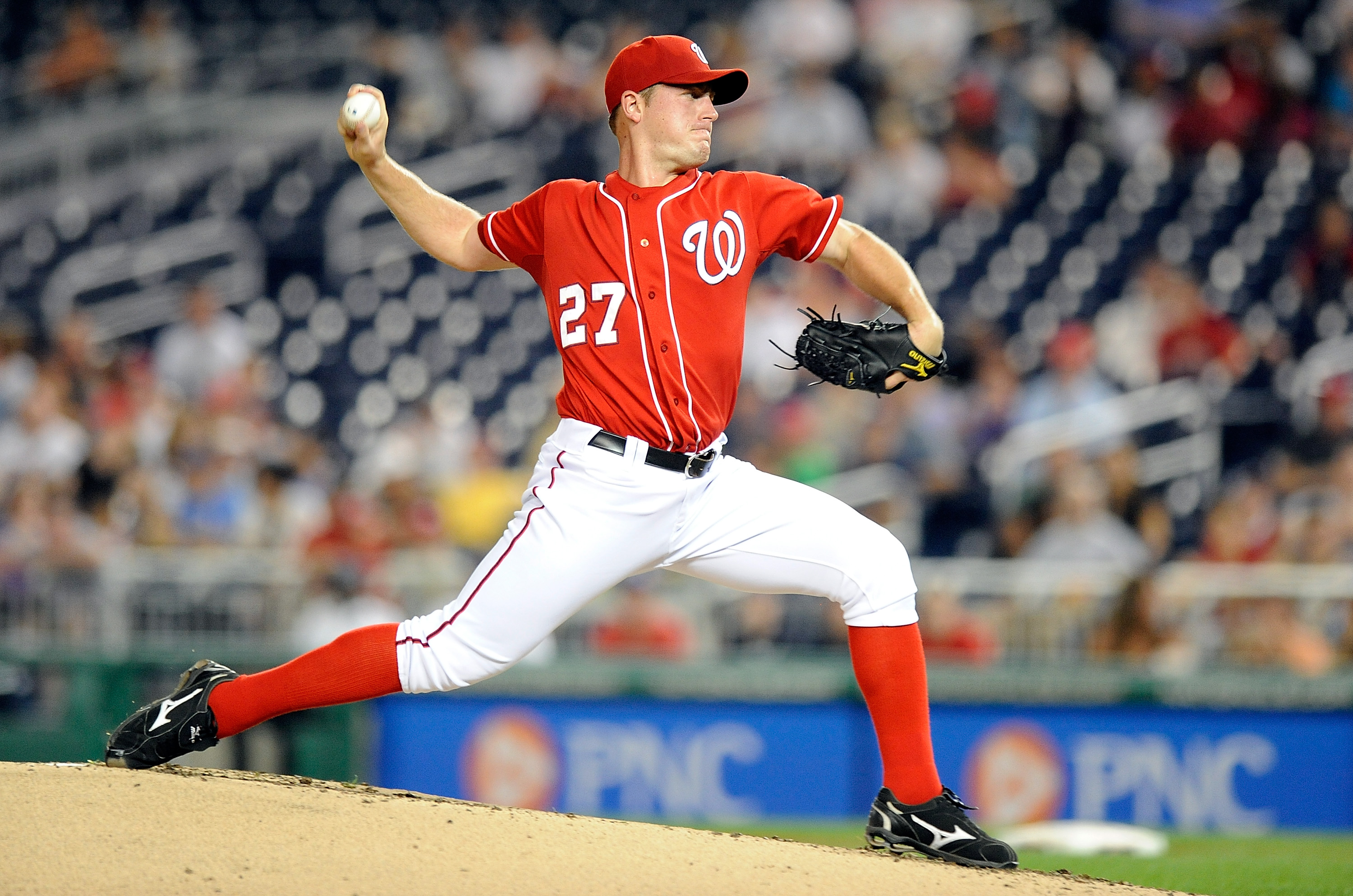 WASHINGTON - SEPTEMBER 24:  Jordan Zimmermann #27 of the Washington Nationals pitches against the Atlanta Braves at Nationals Park on September 24, 2010 in Washington, DC.  (Photo by Greg Fiume/Getty Images)