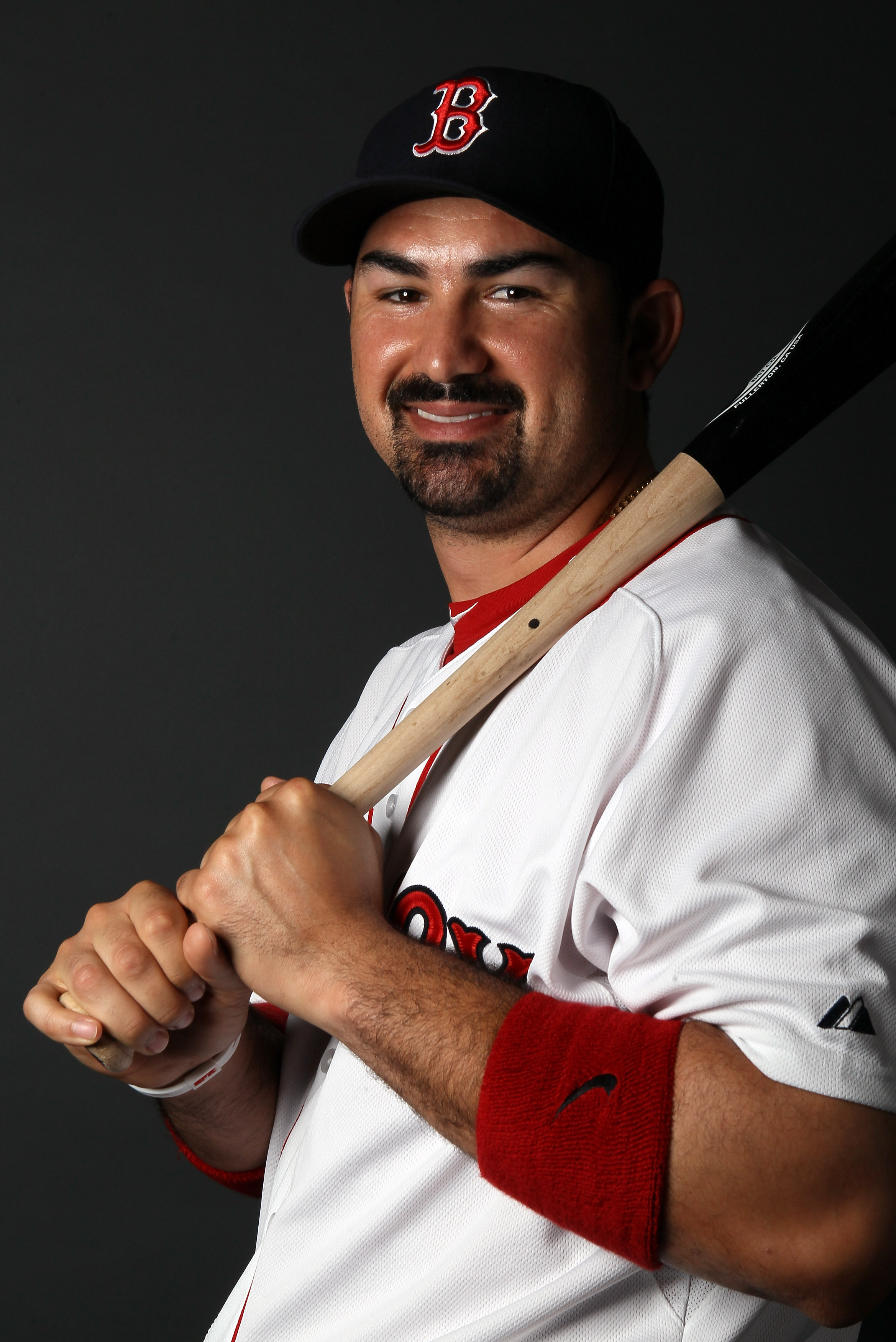 FT. MYERS, FL - FEBRUARY 20:  Adrian Gonzalez #28 of the Boston Red Sox poses for a portrait during the Boston Red Sox Photo Day on February 20, 2011 at the Boston Red Sox Player Development Complex in Ft. Myers, Florida  (Photo by Elsa/Getty Images)