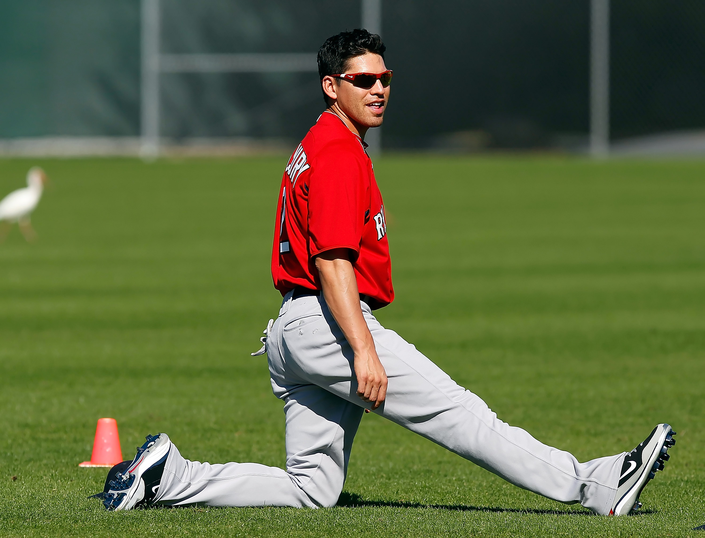 FORT MYERS, FL - FEBRUARY 19:  Outfielder Jacoby Ellsbury #2 of the Boston Red Sox stretches during a Spring Training Workout Session at the Red Sox Player Development Complex on February 19, 2011 in Fort Myers, Florida.  (Photo by J. Meric/Getty Images)