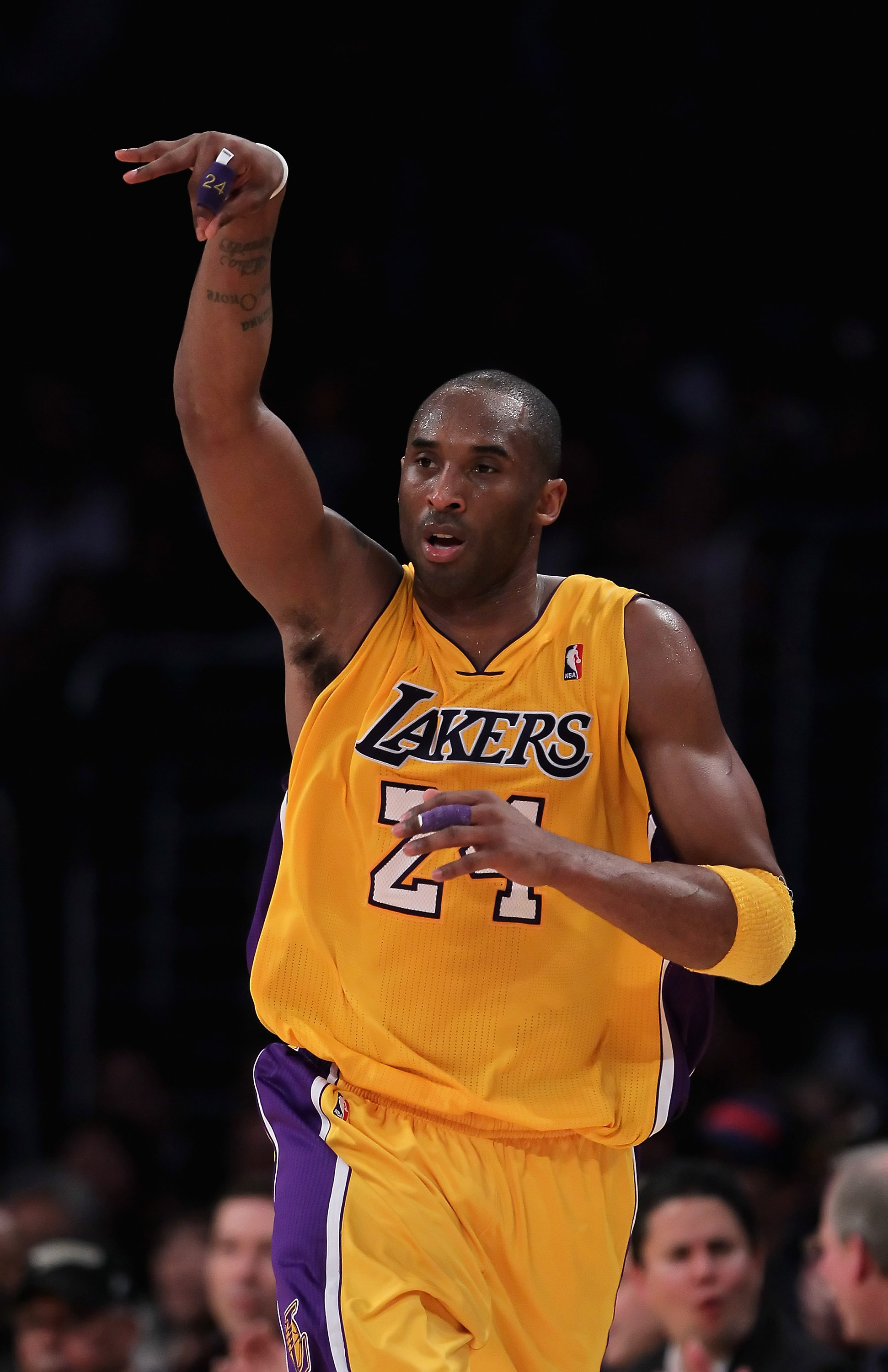 LOS ANGELES, CA - FEBRUARY 22:  Kobe Bryant #24 of the Los Angeles Lakers celebrates after making a three-point basket in the second half against the Atlanta Hawks at Staples Center on February 22, 2011 in Los Angeles, California. The Lakers defeated the