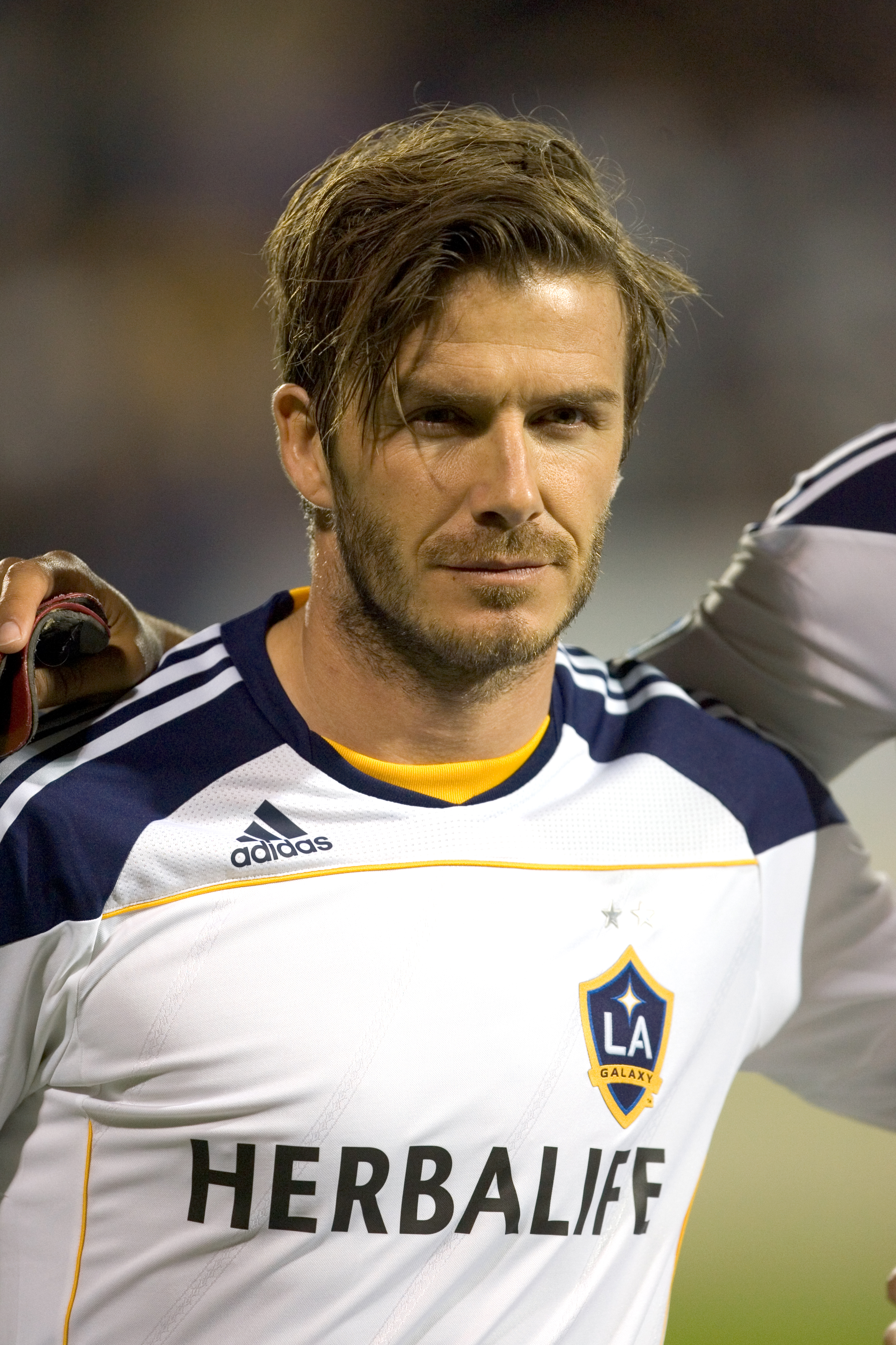 SAN DIEGO, CA - MARCH 2:  David Beckham #23 of the Los Angeles Galaxy looks on prior to the game against Club Tijuana during the second half at the exhibition game at Torero Stadium on March 2, 2011 in San Diego, California. (Photo by Kent Horner/Getty Im