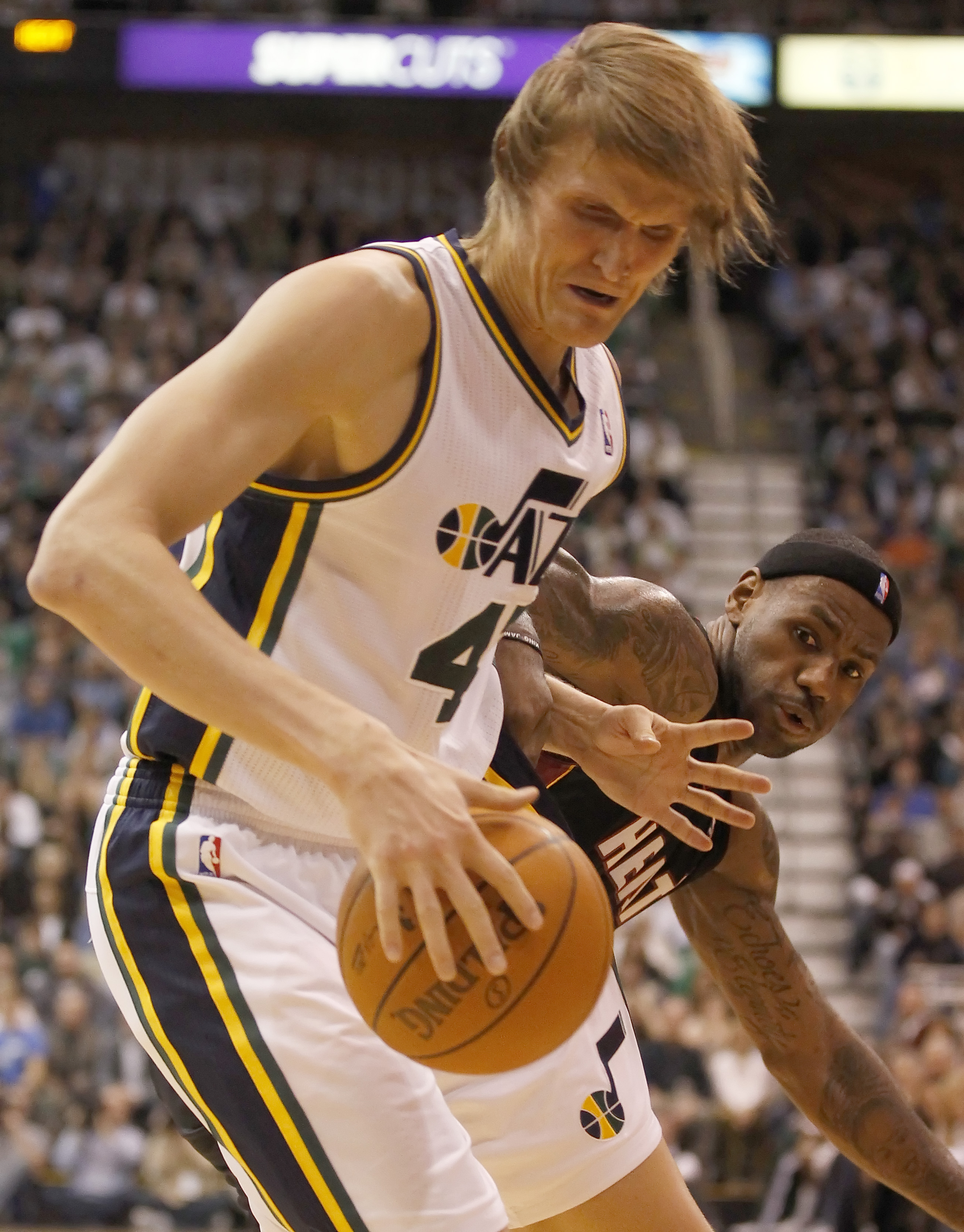 SALT LAKE CITY, UT - DECEMBER 8:  Andrei Kirilenko #47 of the Utah Jazz has the ball knocked away by LeBron James #6 of the Miami Heat during the second half of an NBA game December 8, 2010 at Energy Solutions Arena in Salt Lake City, Utah. The Heat beat