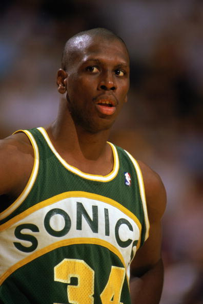 1988:  Xavier McDaniel #34 of the Seattle Supersonics looks on in a game during the 1988-1989 NBA season.  (Photo by Tim Defrisco/Getty Images)