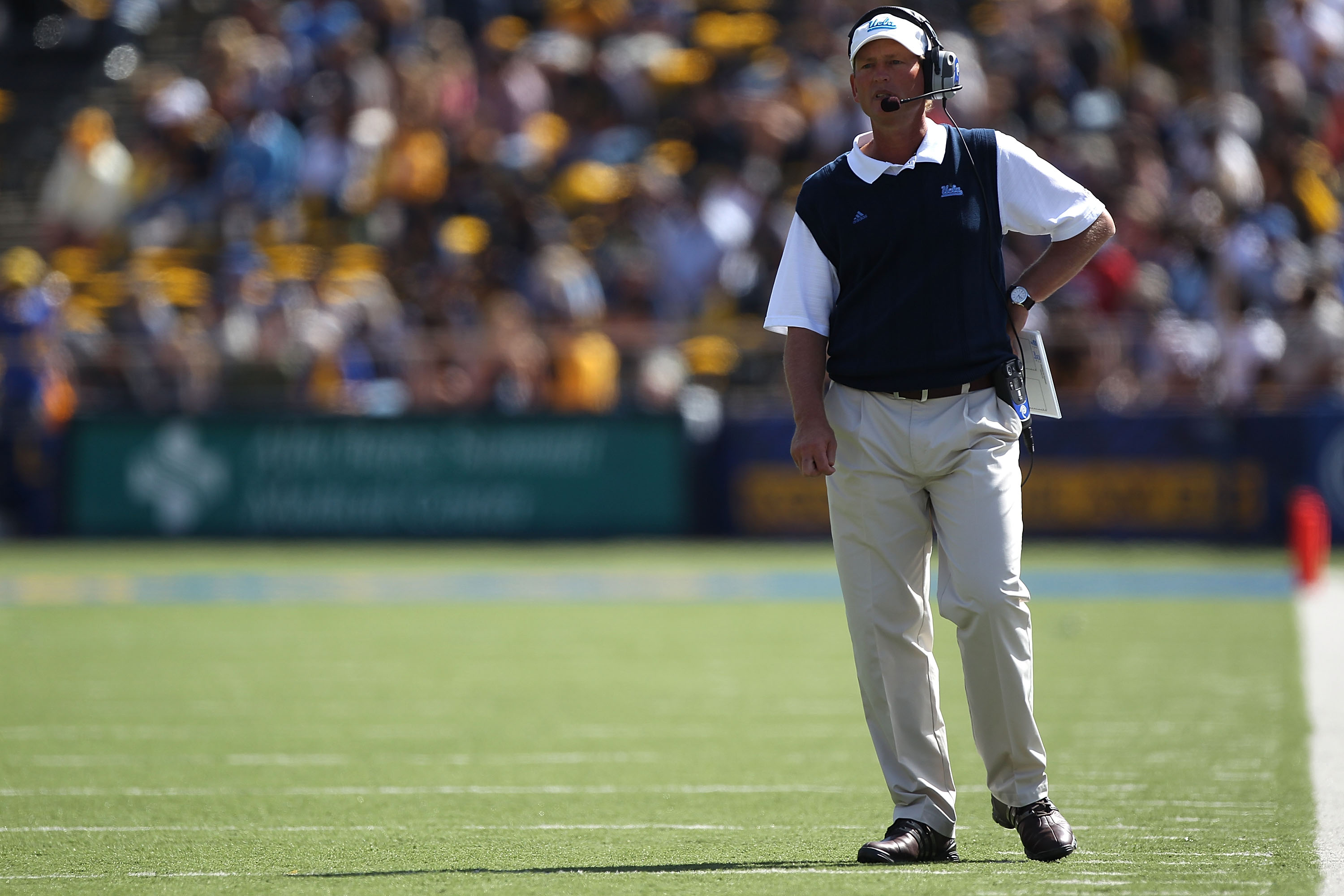 BERKELEY, CA - OCTOBER 09:  Head coach Rick Neuheisel of the UCLA Bruins looks on against the California Golden at California Memorial Stadium on October 9, 2010 in Berkeley, California.  (Photo by Jed Jacobsohn/Getty Images)