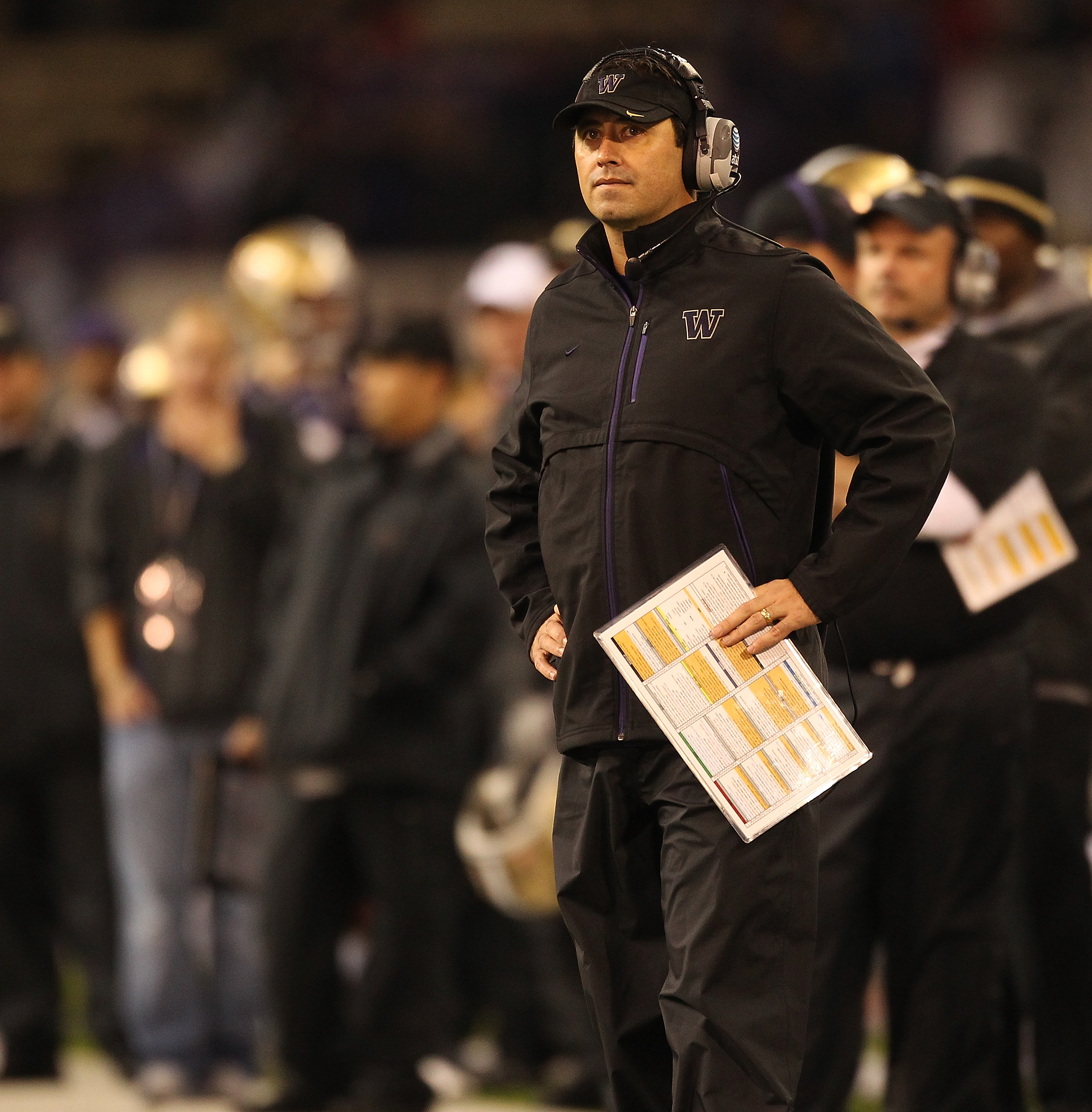 SEATTLE - OCTOBER 30:  Head coach Steve Sarkisian of the Washington Huskies looks on during the game against the Stanford Cardinal on October 30, 2010 at Husky Stadium in Seattle, Washington. Stanford defeated Washington 41-0. (Photo by Otto Greule Jr/Get