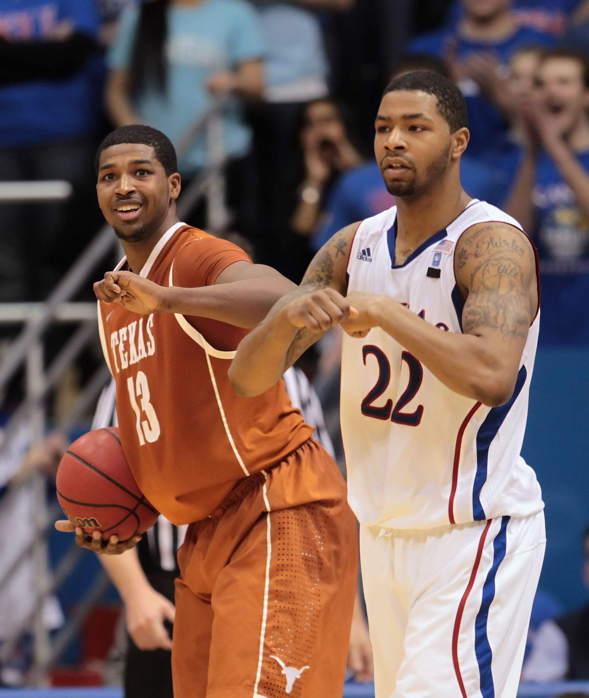 LAWRENCE, KS - JANUARY 22: Tristan Thompson #13 of the Texas Longhorns smiles after drawing a foul from Marcus Morris #22 of the Kansas Jayhawks during the second half of the game on January 22, 2011 at Allen Fieldhouse in Lawrence, Kansas. (Photo by Jami