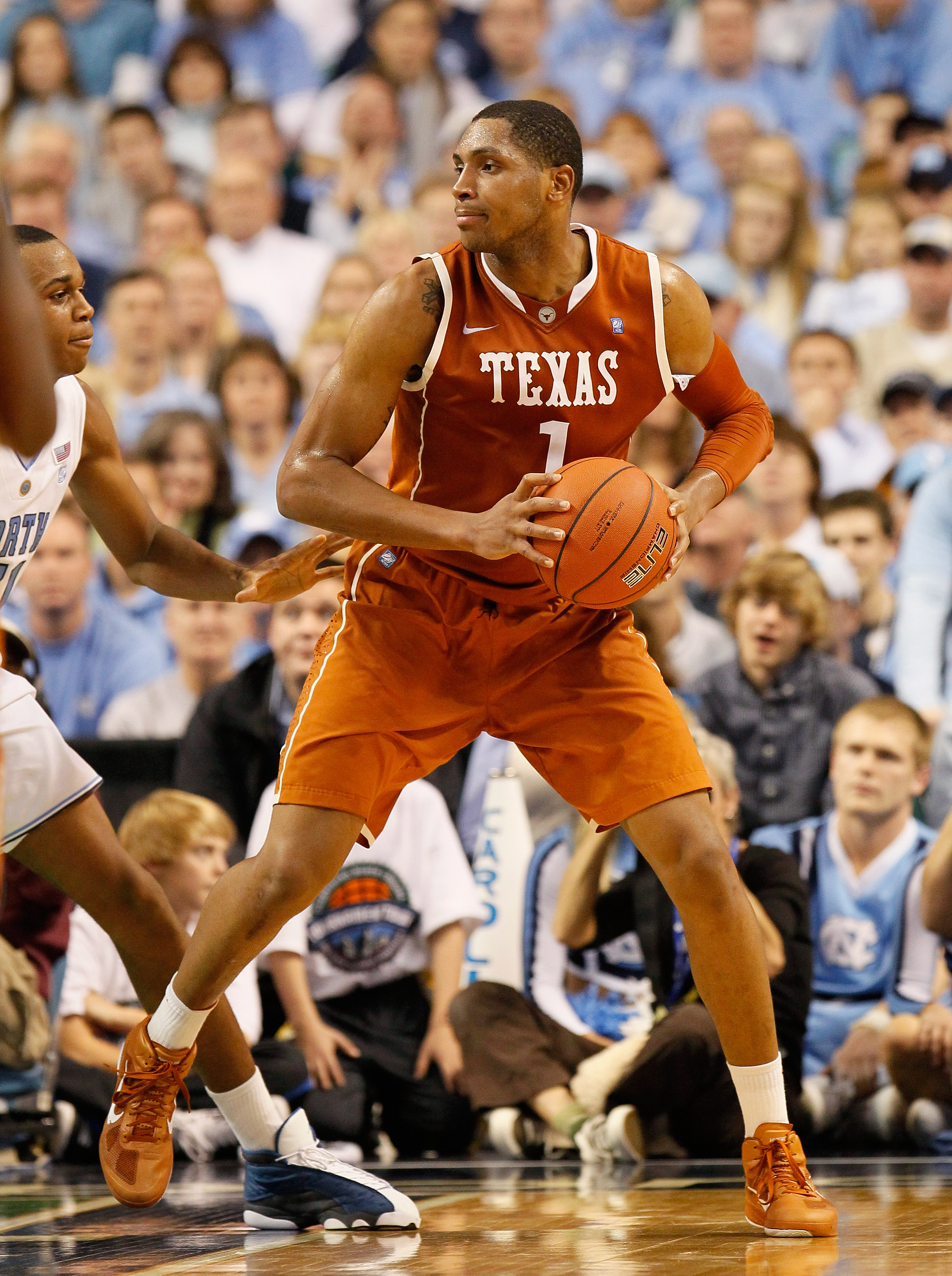 GREENSBORO, NC - DECEMBER 18:  Gary Johnson #1 of the Texas Longhorns against the North Carolina Tar Heels at Greensboro Coliseum on December 18, 2010 in Greensboro, North Carolina.  (Photo by Kevin C. Cox/Getty Images)