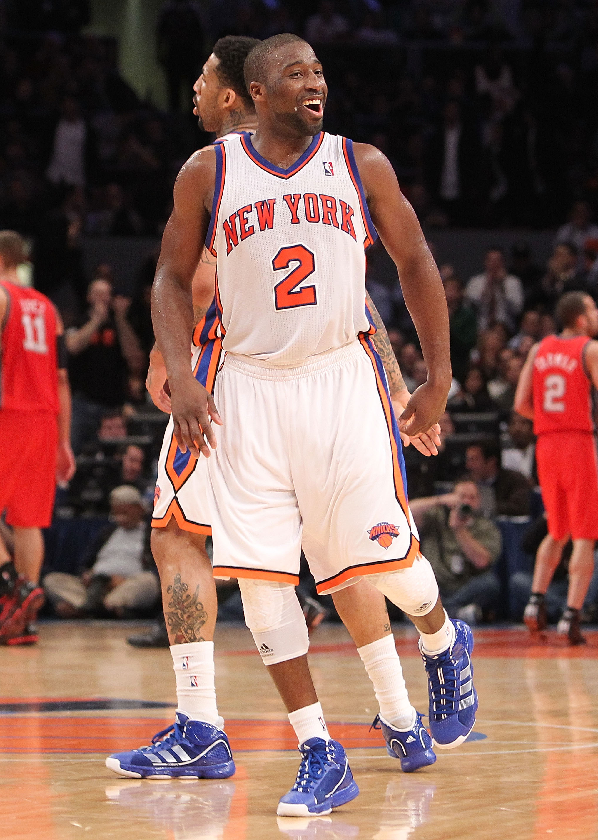 NEW YORK, NY - NOVEMBER 30:  Raymond Felton #2 of the New York Knicks reacts agaisnt the New Jersey Nets on November 30, 2010 at Madison Square Garden in New York City. NOTE TO USER: User expressly acknowledges and agrees that, by downloading and or using